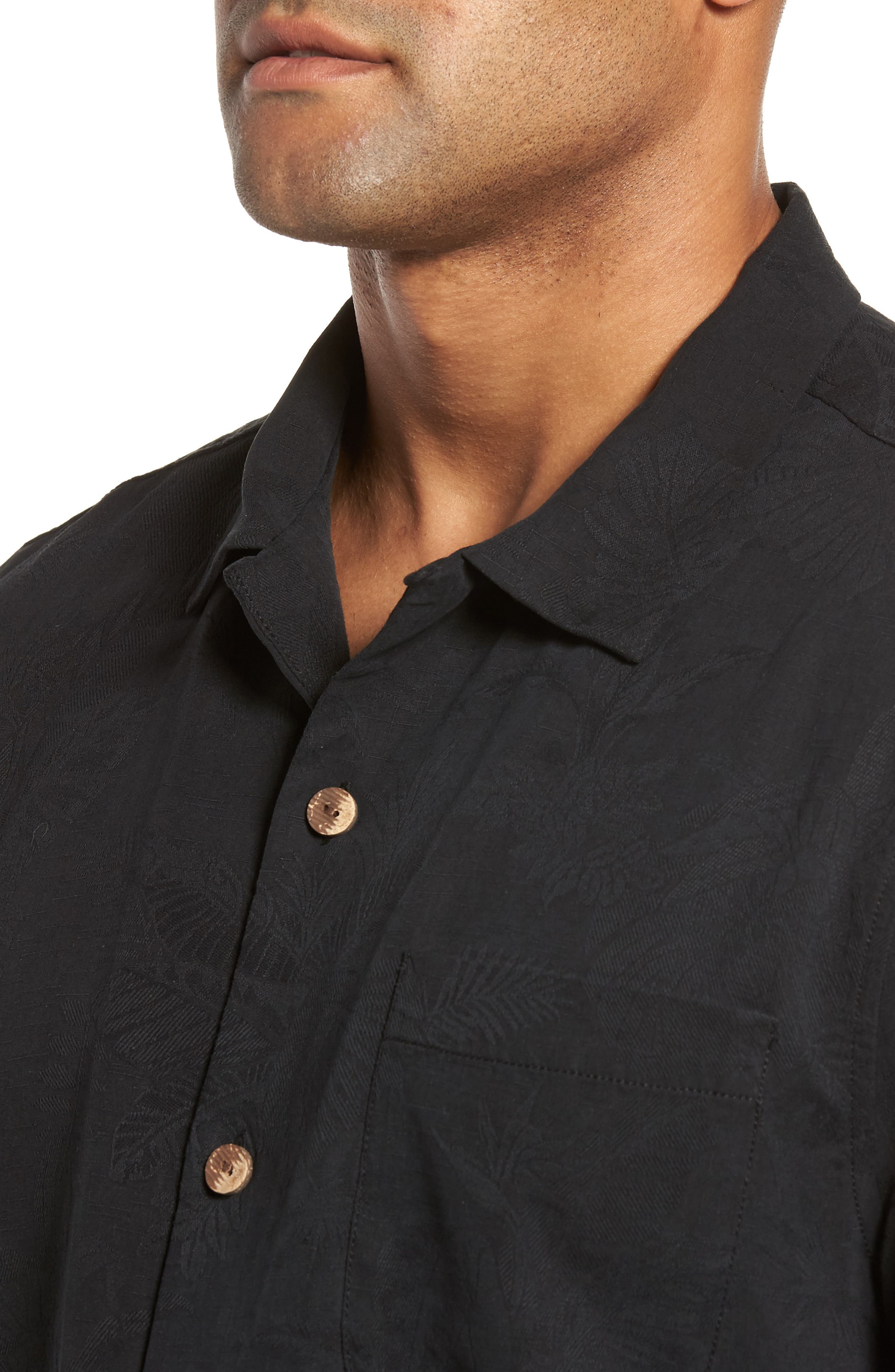 St Lucia Fronds Silk Camp Shirt,                             Alternate thumbnail 4, color,                             Black