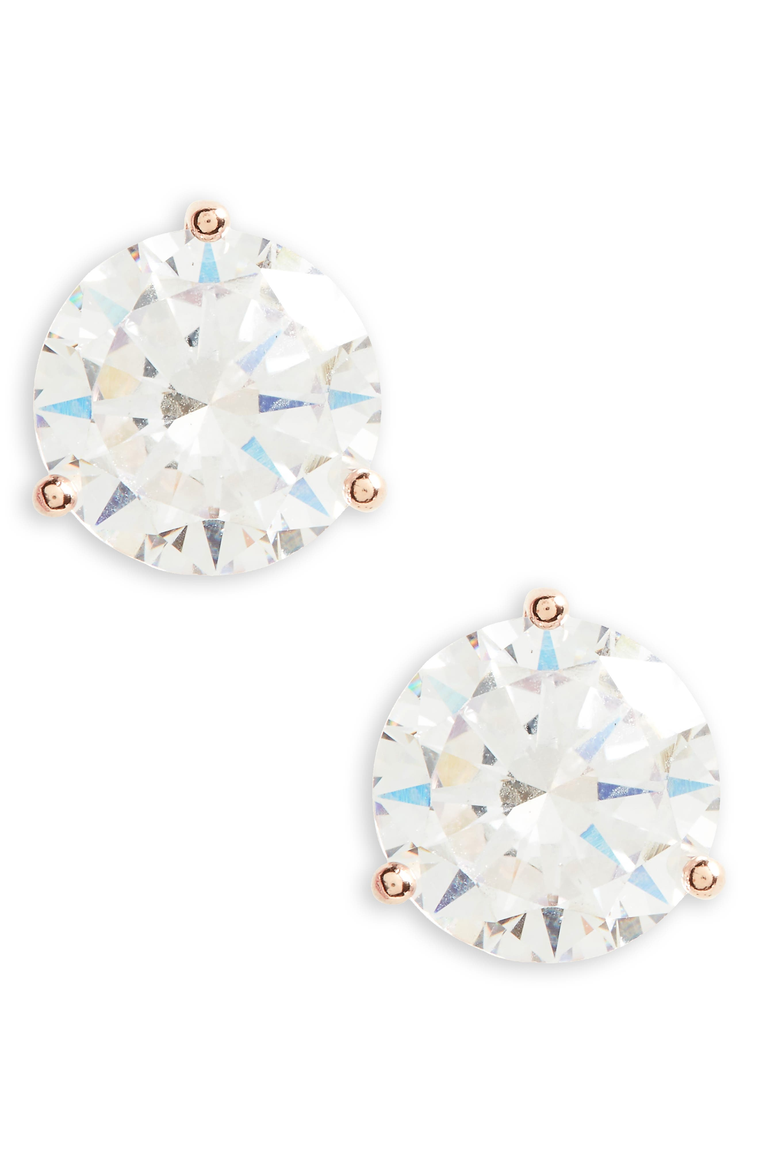 6ct tw Cubic Zirconia Stud Earrings,                         Main,                         color, Clear- Rose Gold