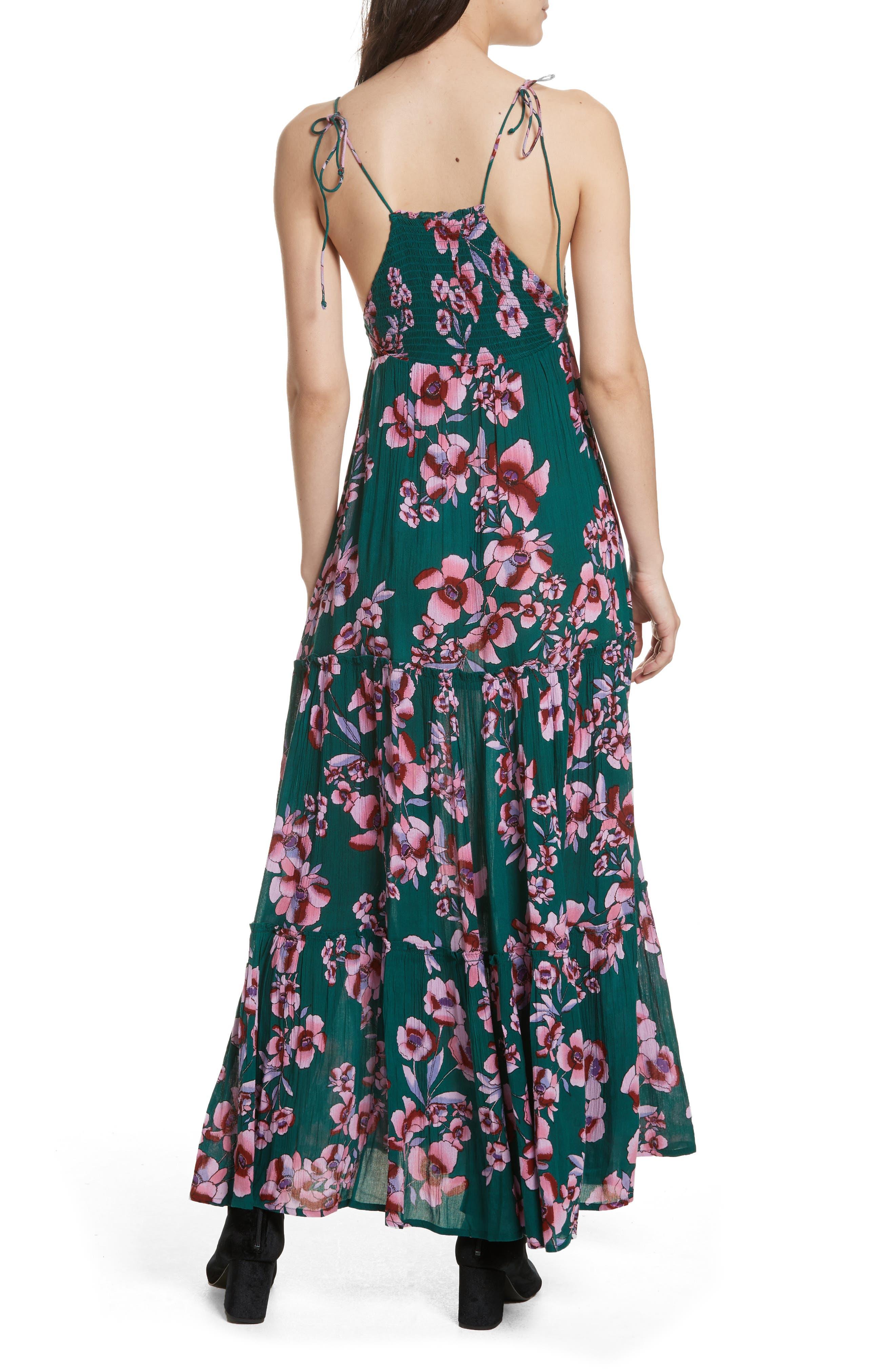 Garden Party Maxi Dress,                             Alternate thumbnail 2, color,                             Turquoise