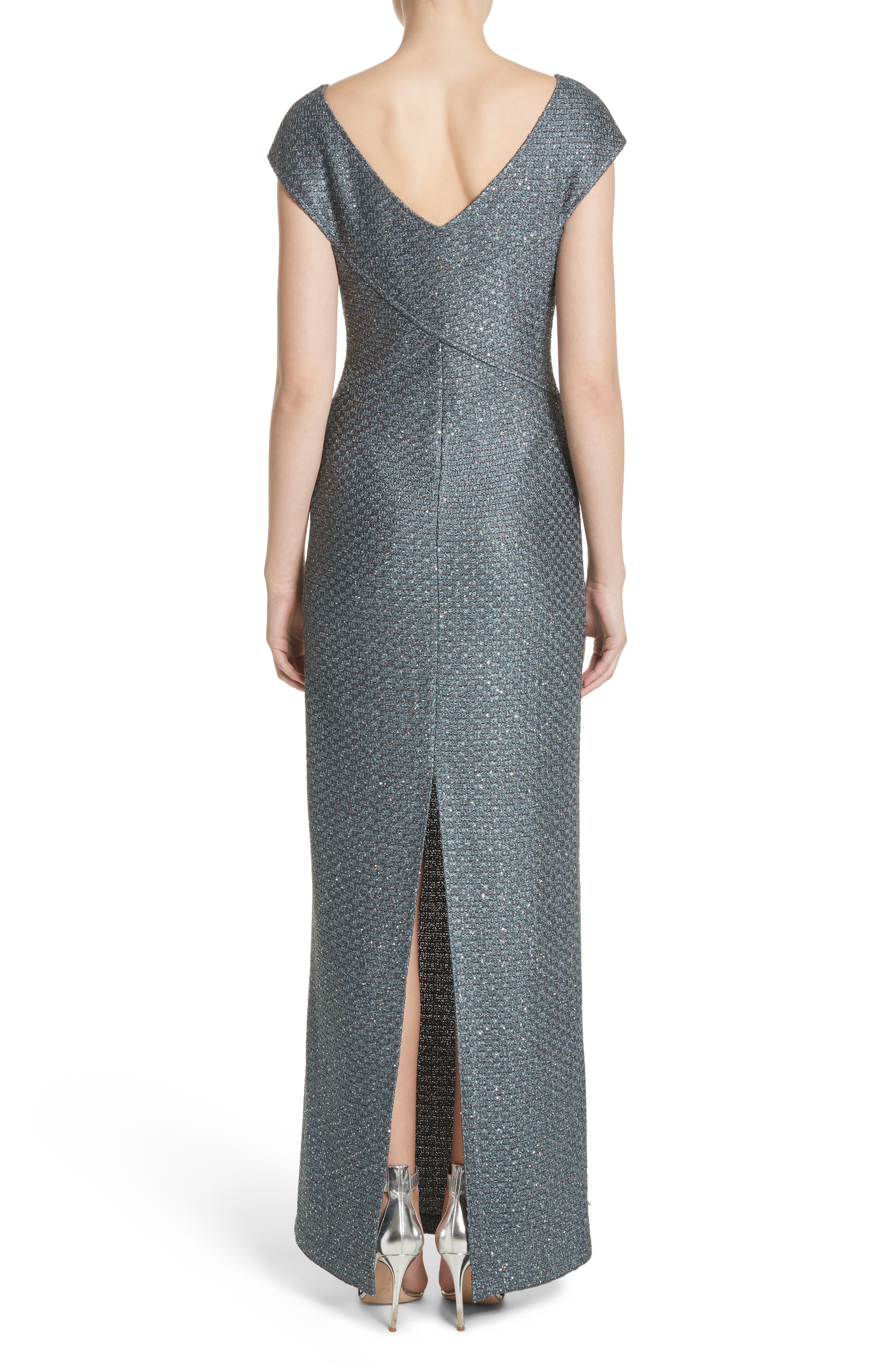 Spark Sequin Hansh Knit Column Gown,                             Alternate thumbnail 2, color,                             Dark Mint Multi