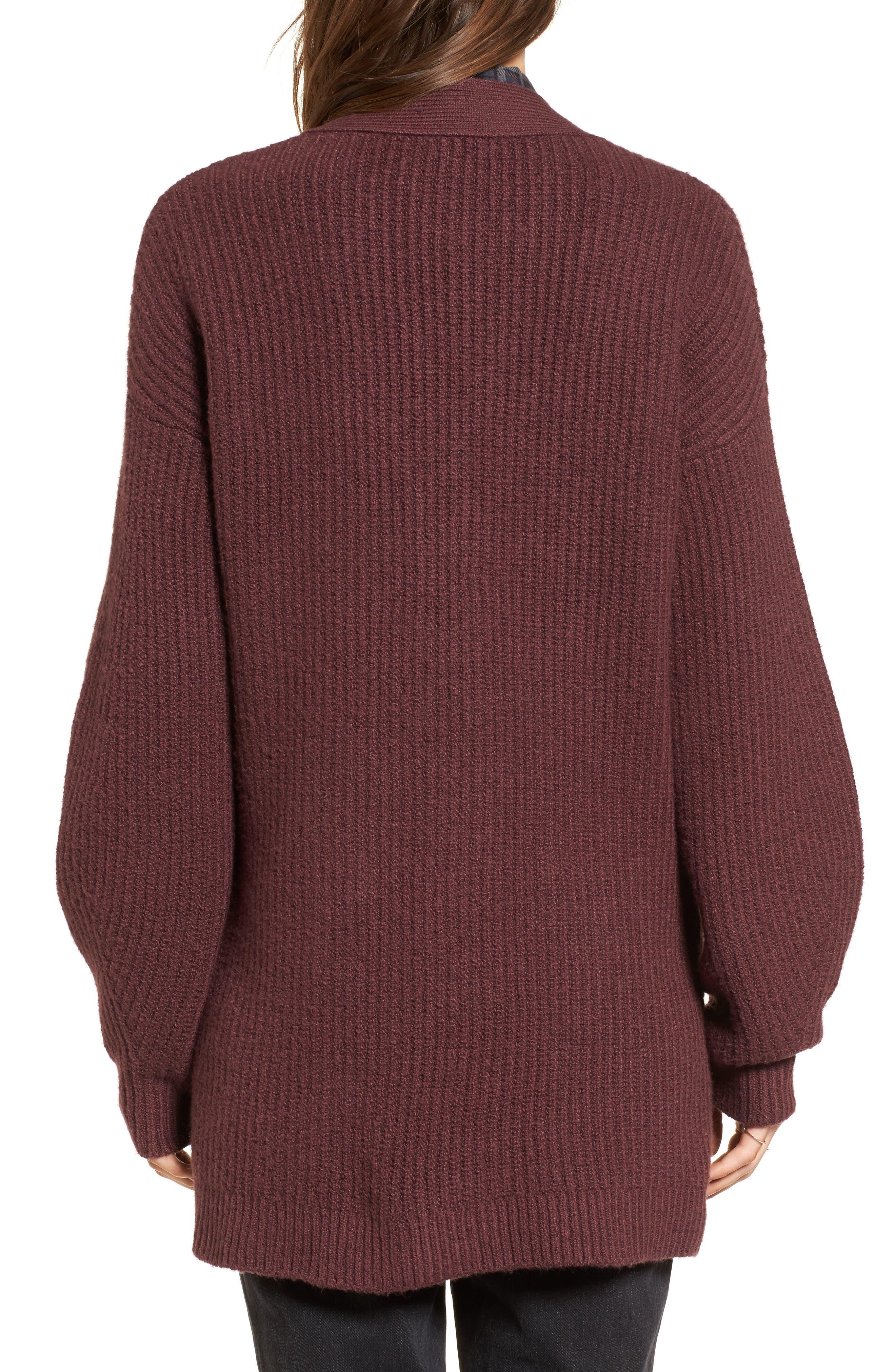 Ribbed Cardigan Sweater,                             Alternate thumbnail 2, color,                             Burgundy Fudge