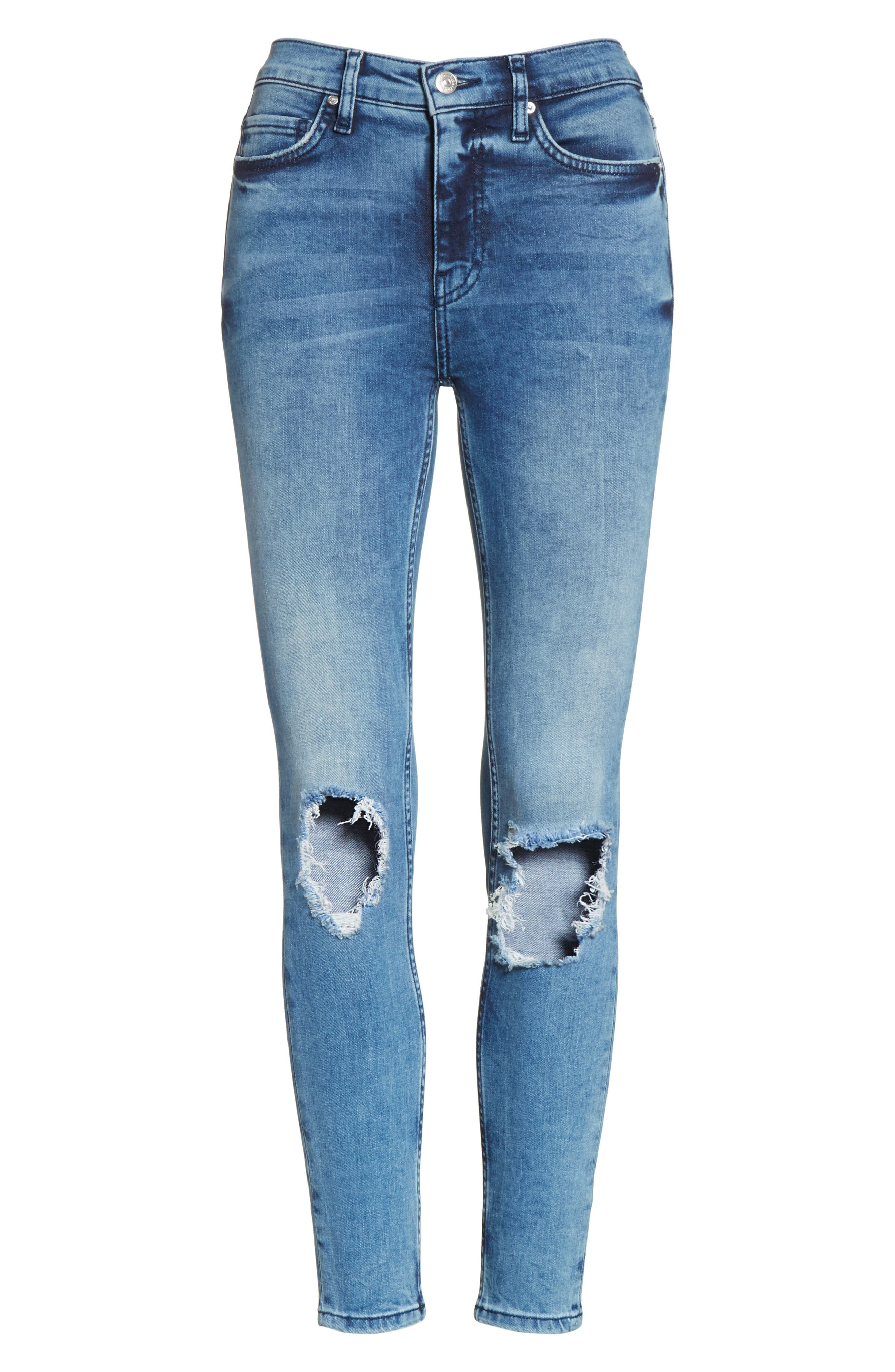 High Rise Busted Knee Skinny Jeans,                             Alternate thumbnail 6, color,                             Turquoise