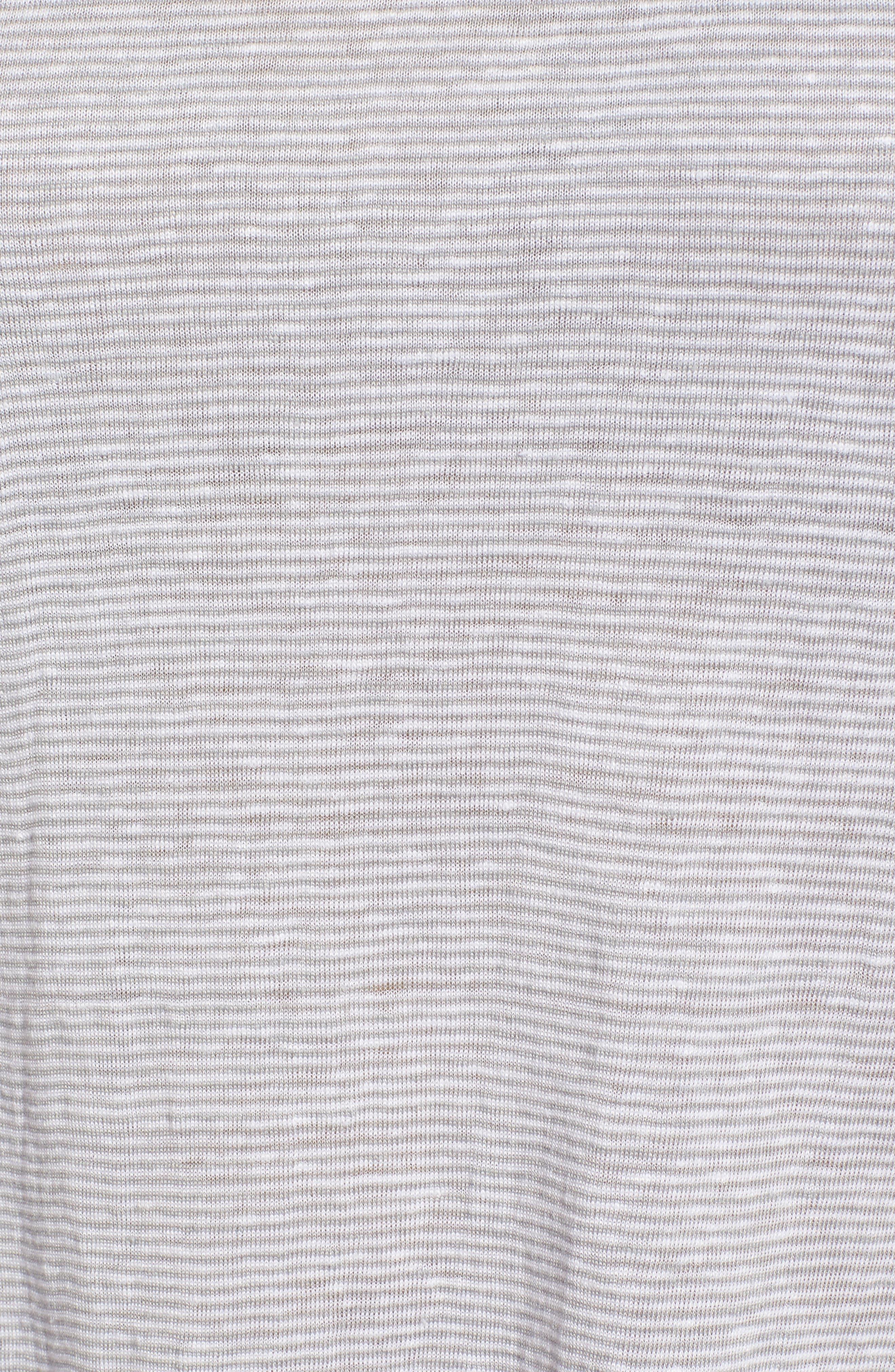 Racerback Stripe Organic Linen Tank,                             Alternate thumbnail 5, color,                             Dark Pearl
