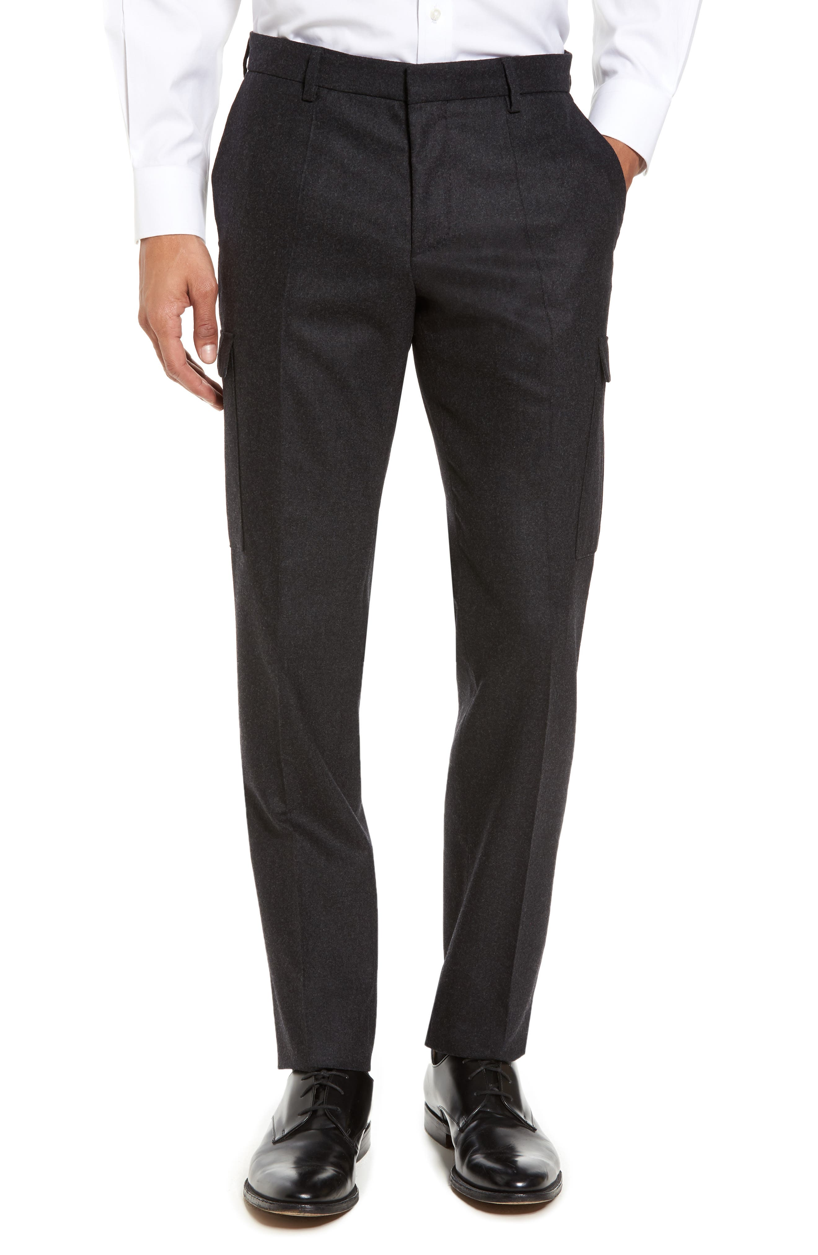 Balour Flat Front Stretch Solid Wool & Cashmere Cargo Trousers,                             Main thumbnail 1, color,                             Dark Grey