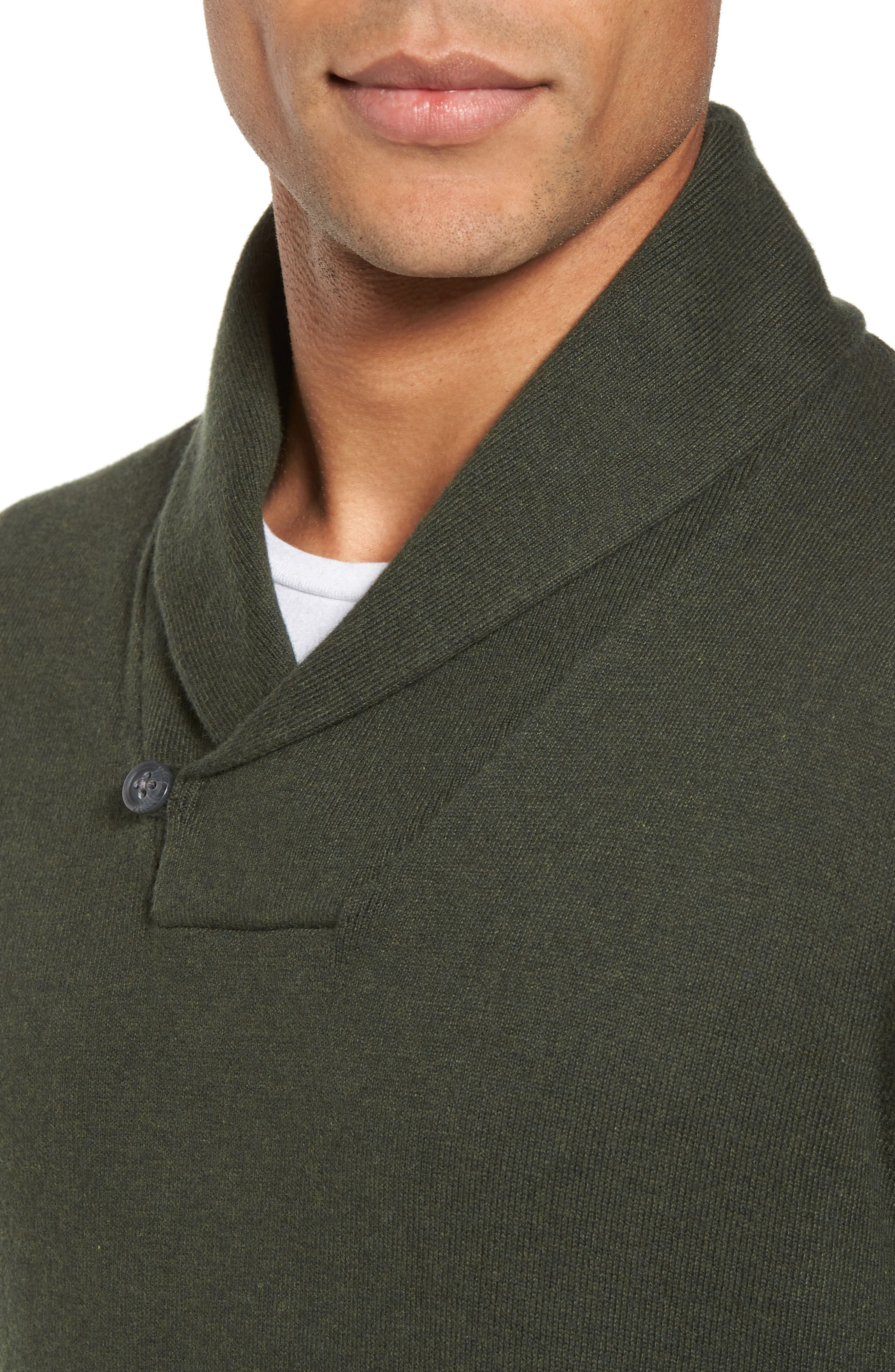 Cotton & Cashmere Shawl Collar Sweater,                             Alternate thumbnail 4, color,                             Green Deep Pine