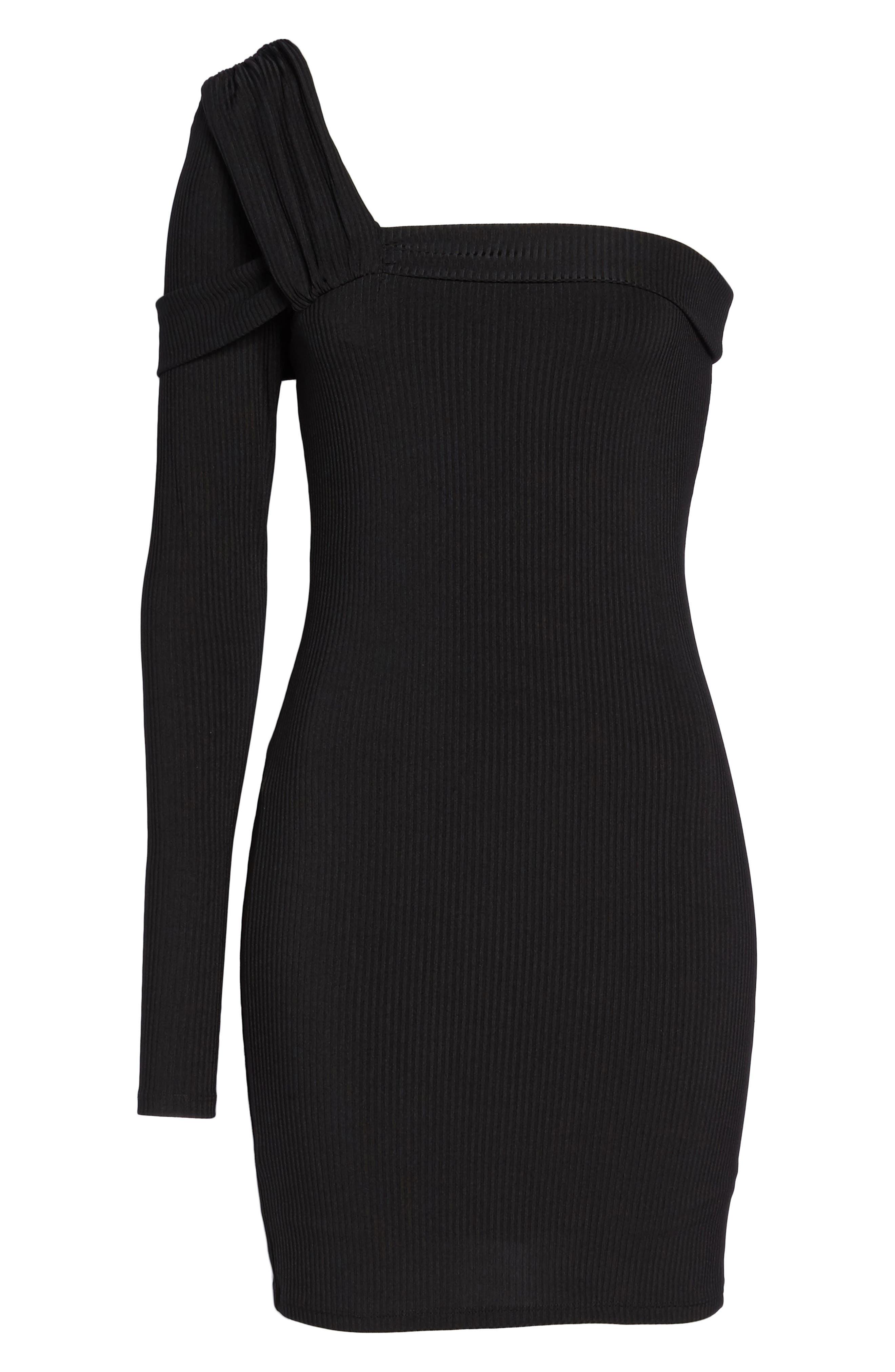 One-Shoulder Body-Con Dress,                             Alternate thumbnail 6, color,                             Black