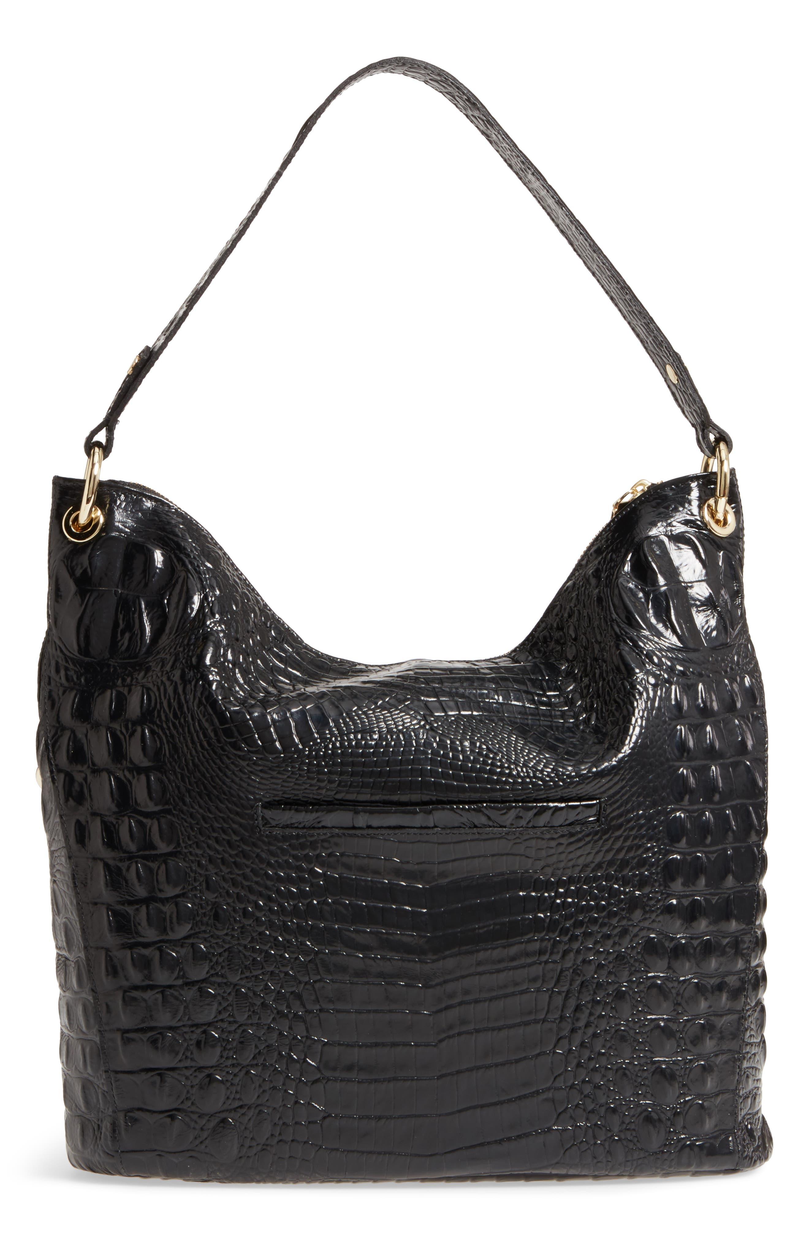 Melbourne Sevi Croc Embossed Leather Hobo,                             Alternate thumbnail 3, color,                             Black