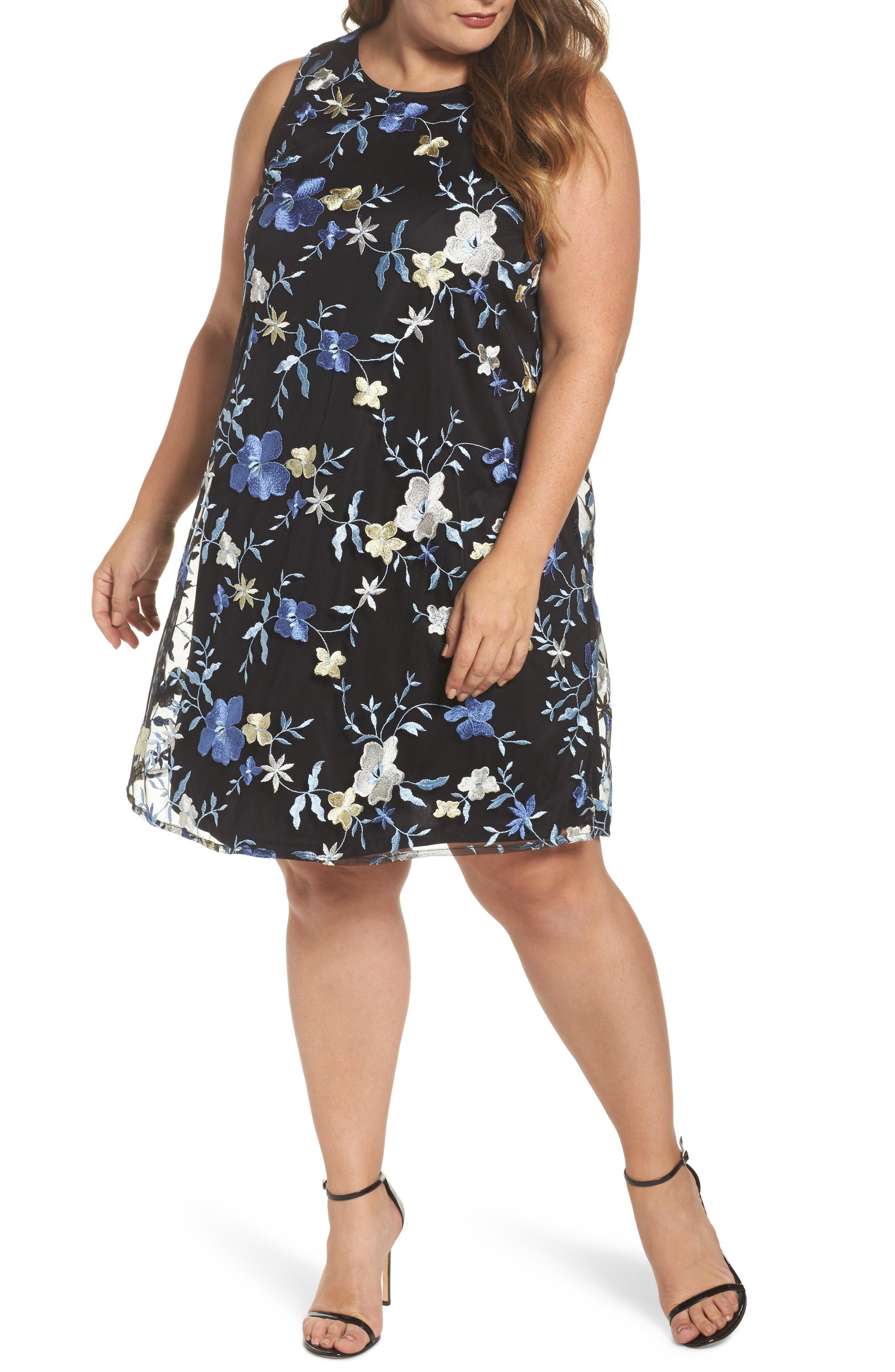 Floral Embroidered A-Line Dress,                         Main,                         color, Black/ Blue
