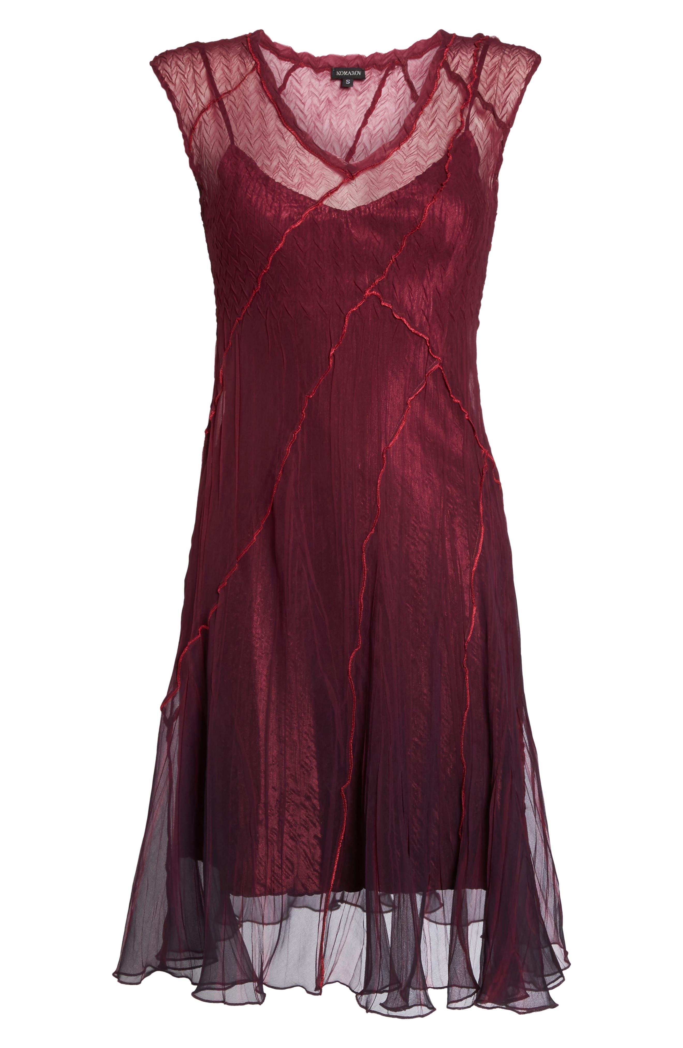 Chiffon A-Line Dress,                             Alternate thumbnail 6, color,                             Red Plum Blue Ombre