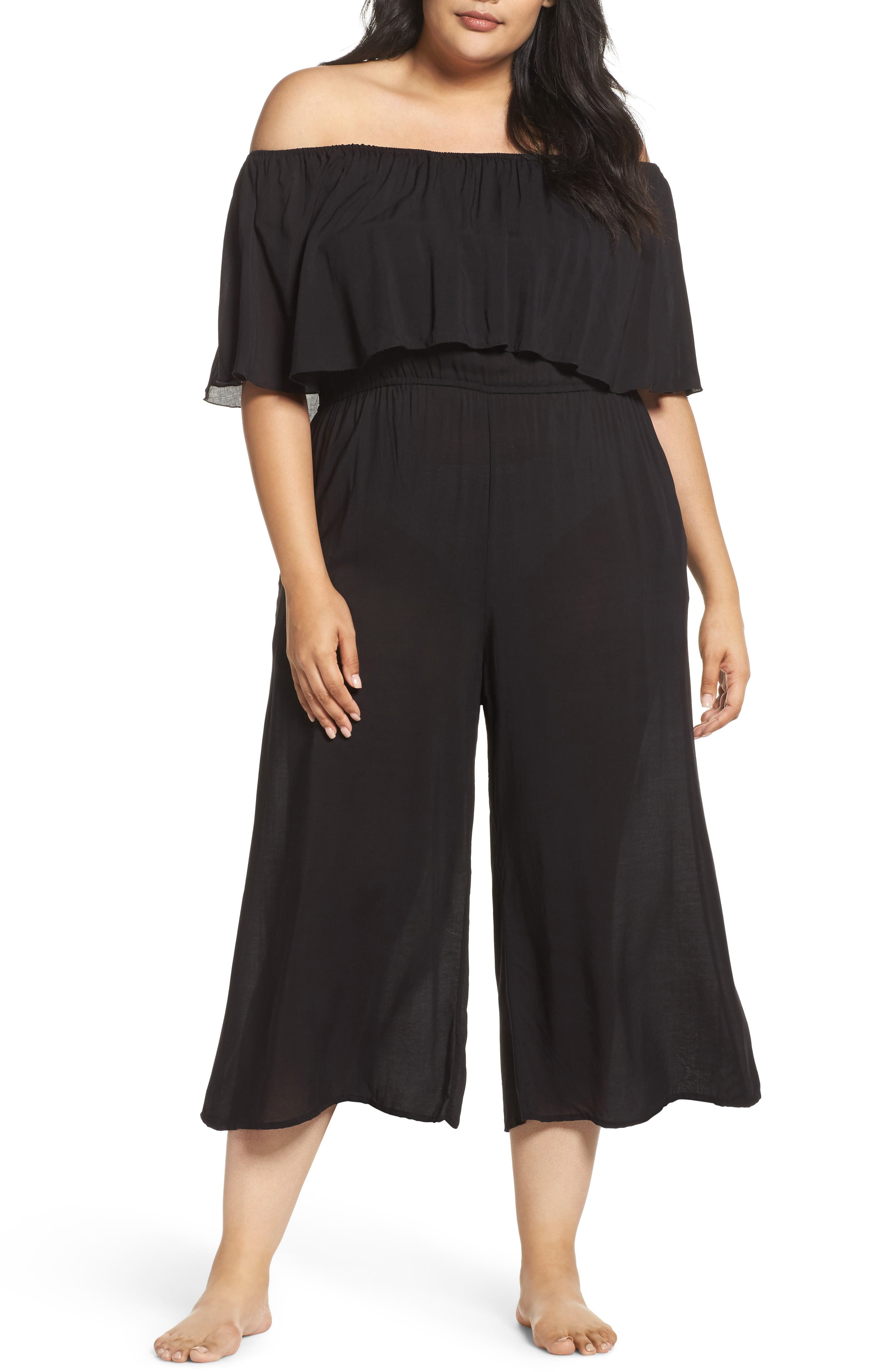 Alternate Image 1 Selected - Elan Off the Shoulder Cover-Up Jumpsuit (Plus Size)