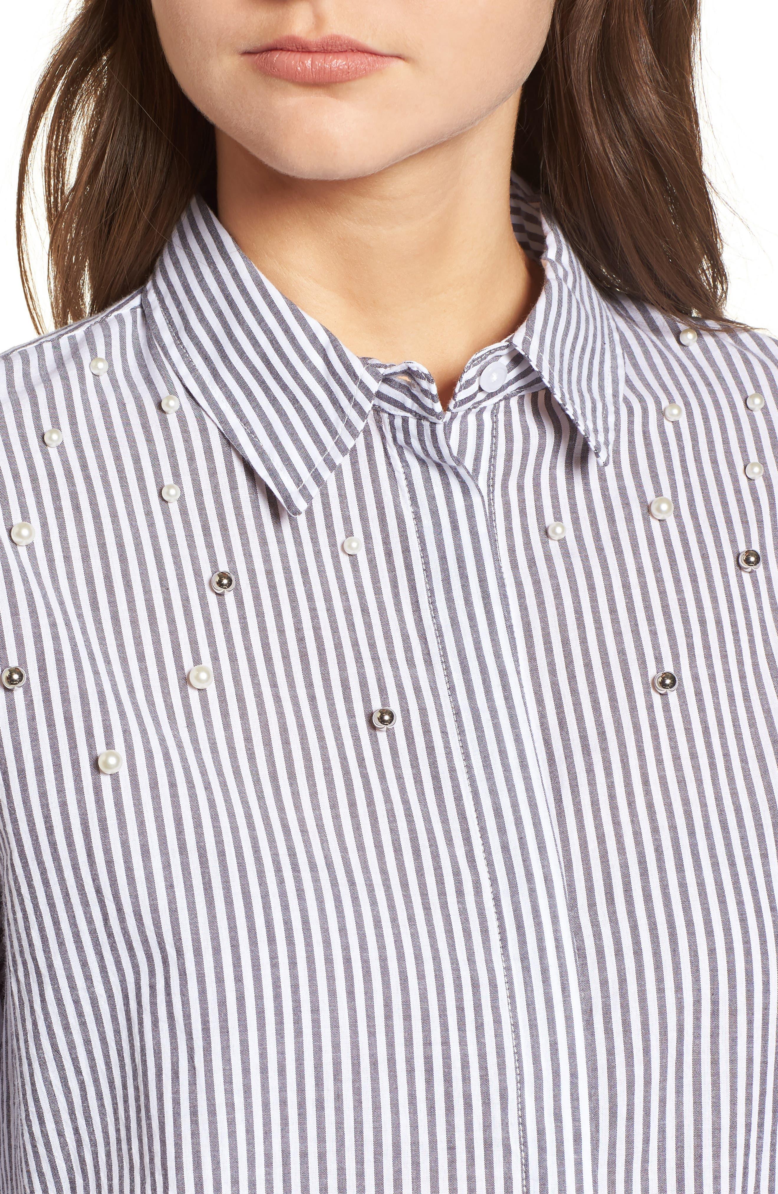 Taylor Embellished Shirt,                             Alternate thumbnail 4, color,                             Florence Stripe Studded Pearls