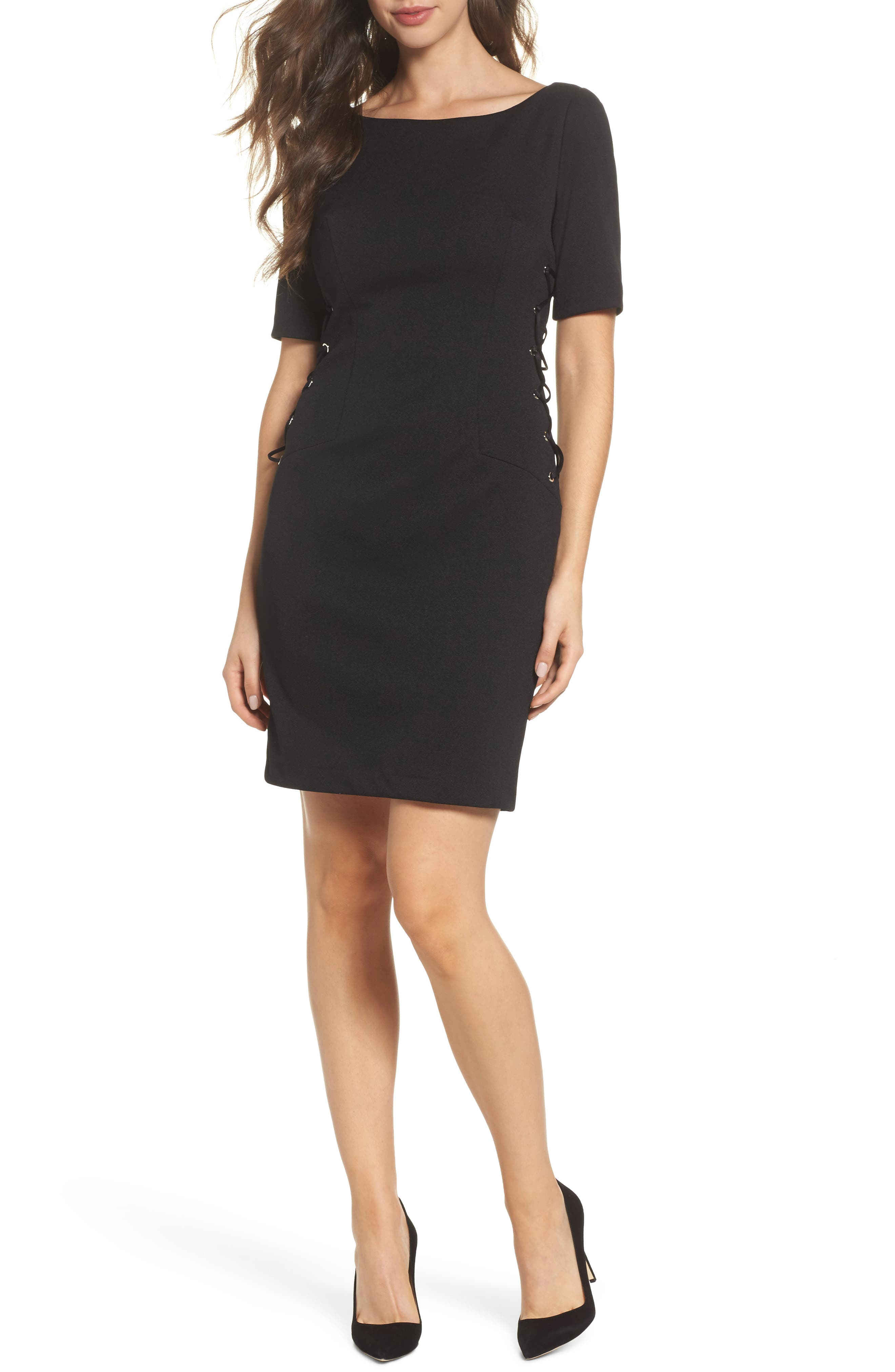 Micro Ottoman Lace-Up Sheath Dress,                         Main,                         color, Black