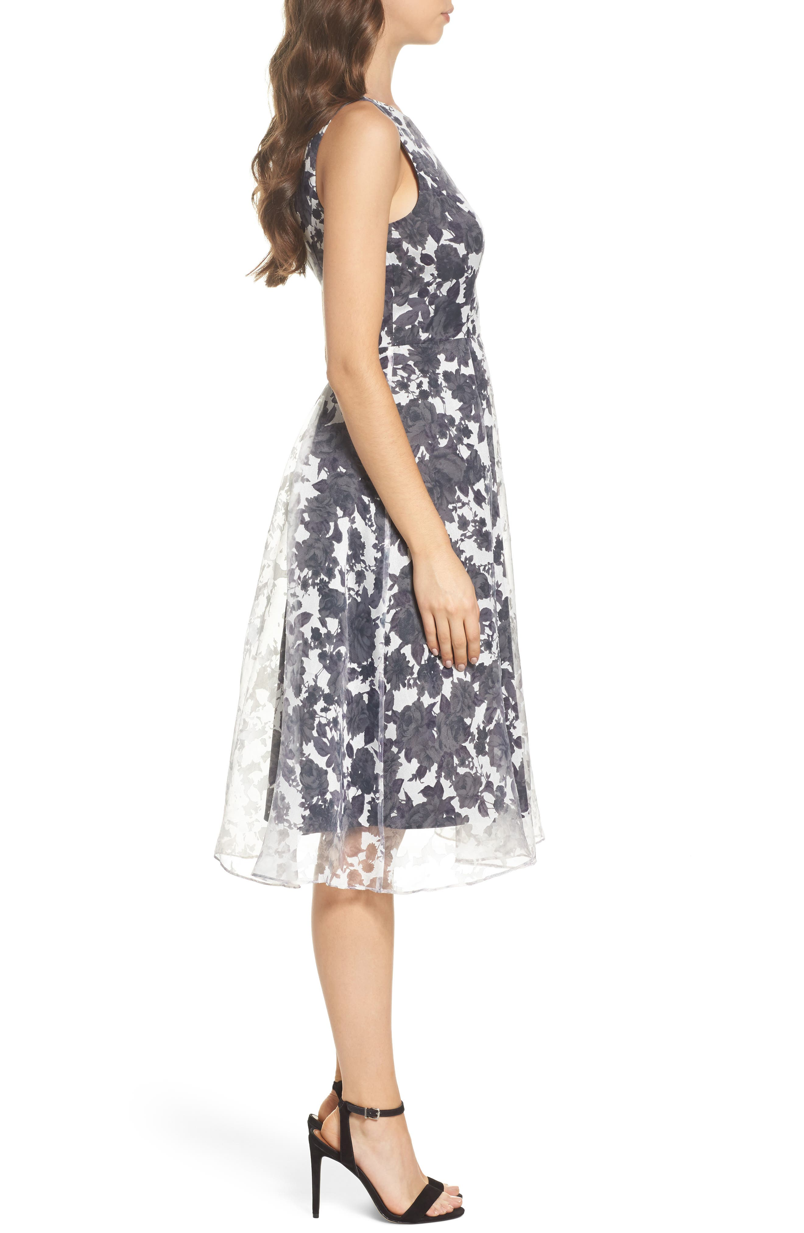 Alyssa Fit & Flare Dress,                             Alternate thumbnail 3, color,                             Lilac Mist