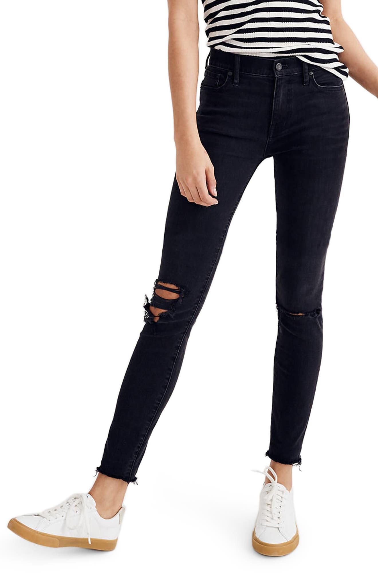 9-Inch High Waist Skinny Jeans,                             Main thumbnail 1, color,                             Black Sea