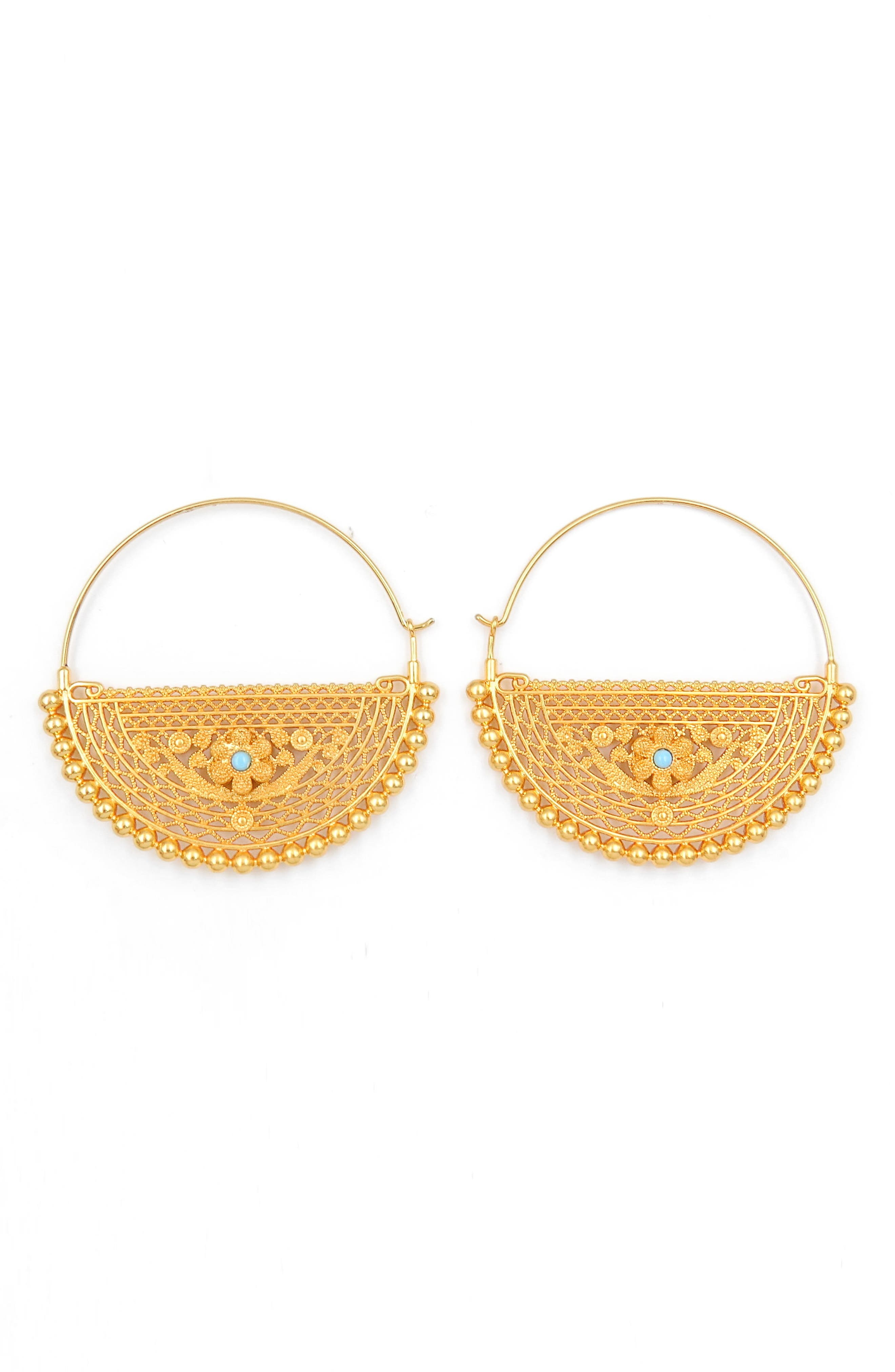 Filigree Hoop Earrings,                             Main thumbnail 1, color,                             Gold
