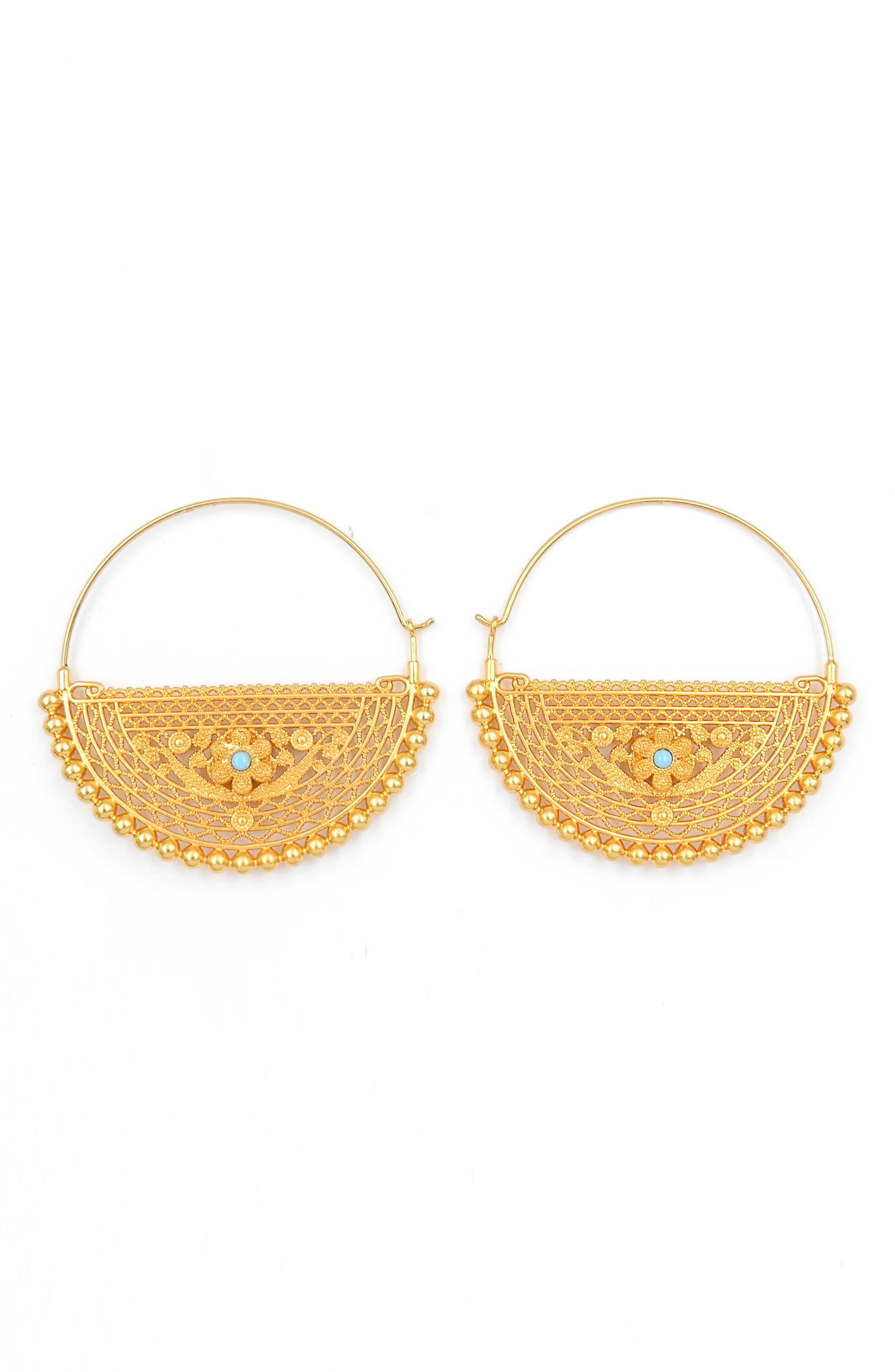 Filigree Hoop Earrings,                         Main,                         color, Gold