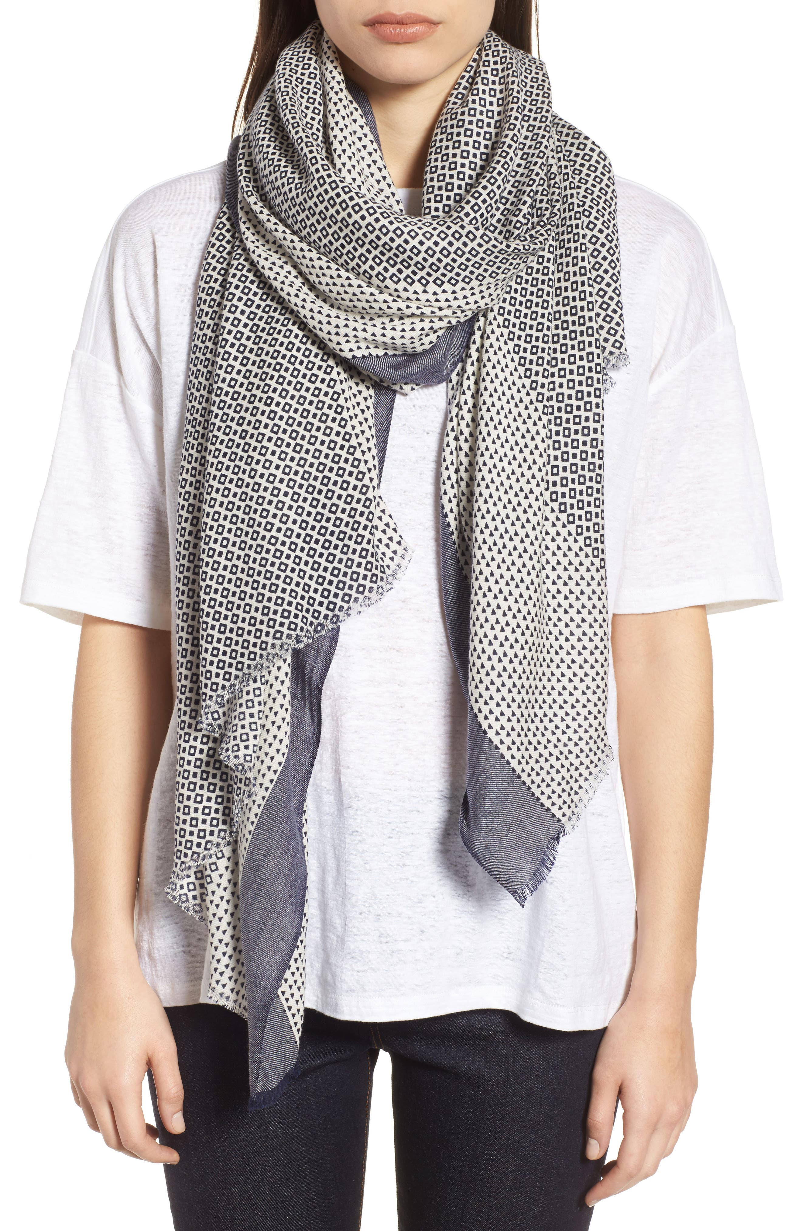 Geo Print Scarf,                             Main thumbnail 1, color,                             Midnight