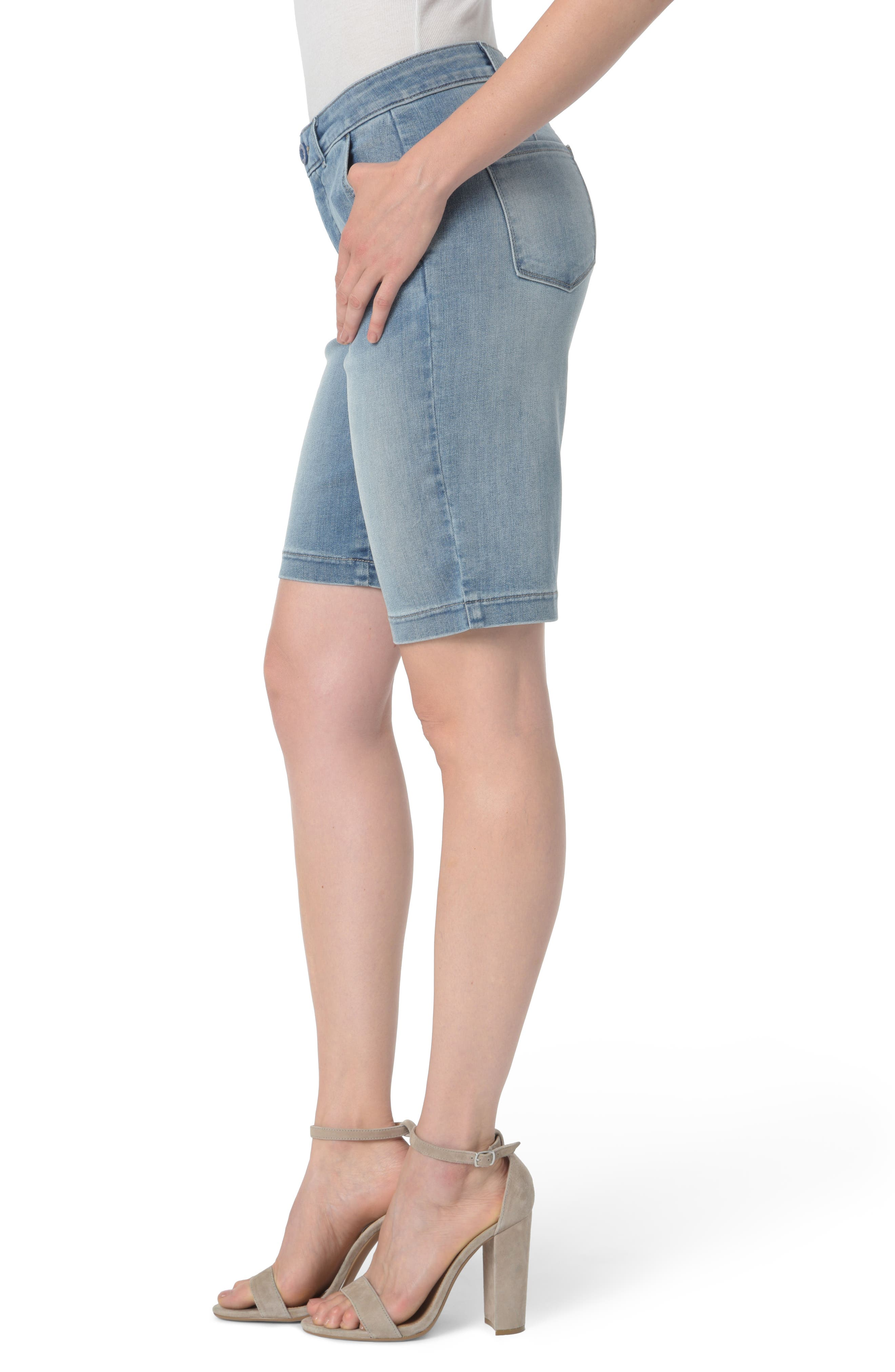 Marilyn Stretch Denim Bermuda Shorts,                             Alternate thumbnail 3, color,                             Dreamstate