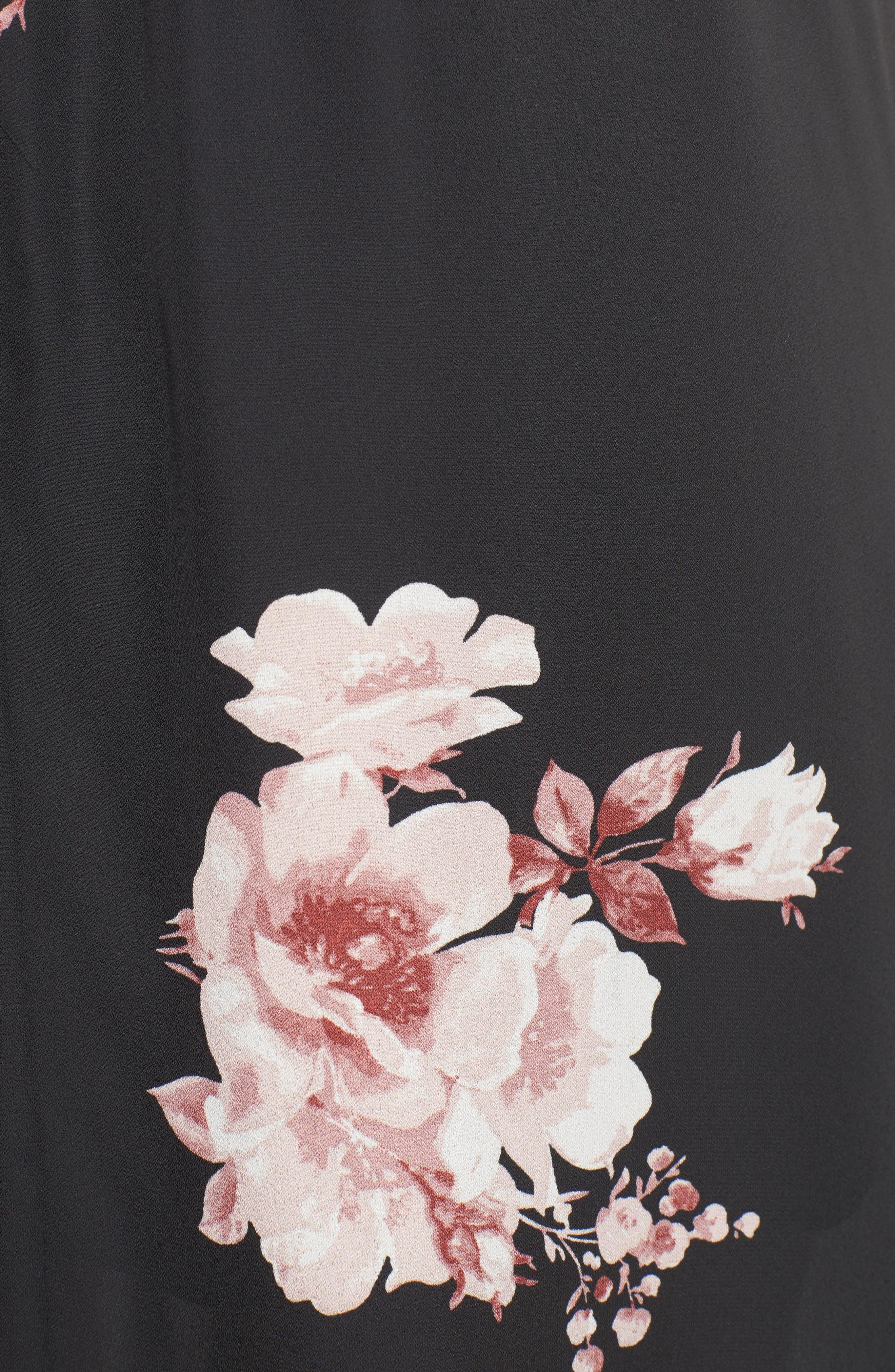 Ruffle Surplice Dress,                             Alternate thumbnail 5, color,                             75 Black Mauve