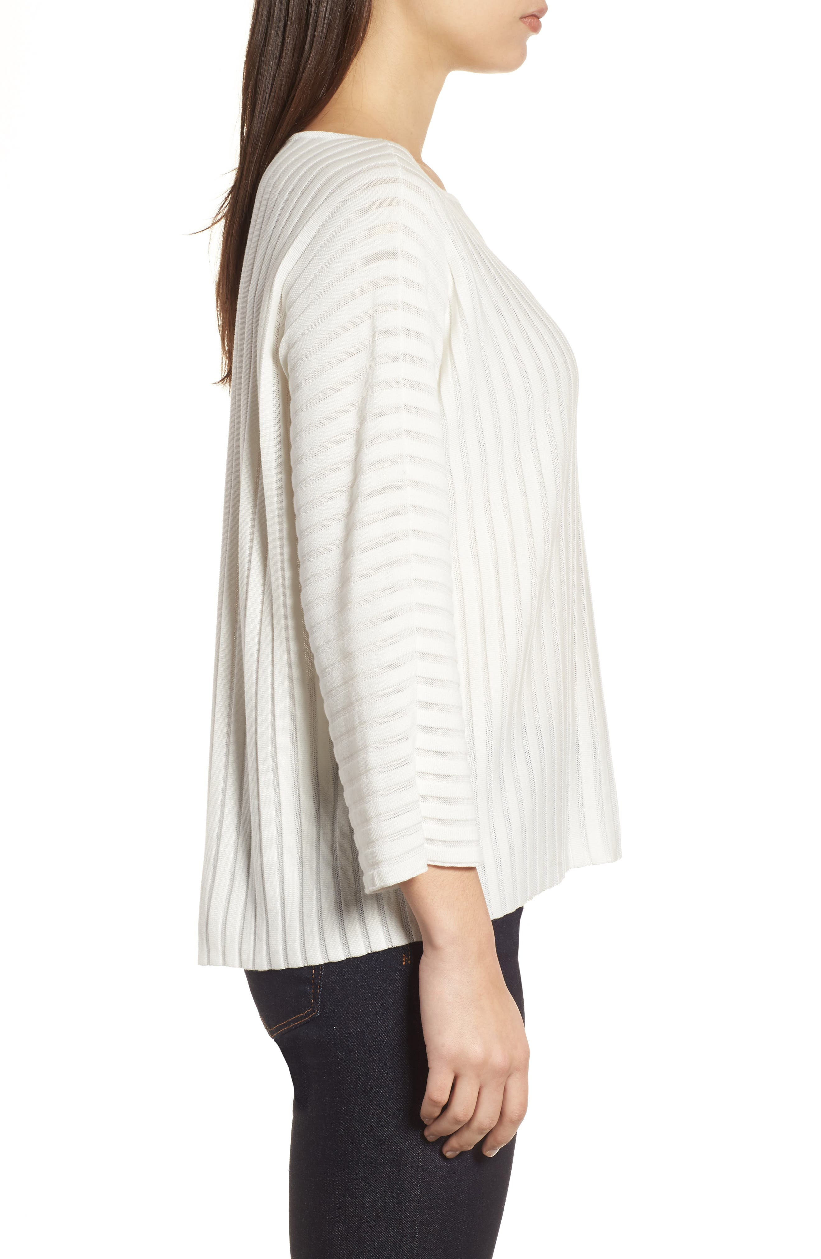 Ribbed Bateau Neck Sweater,                             Alternate thumbnail 3, color,                             Soft White