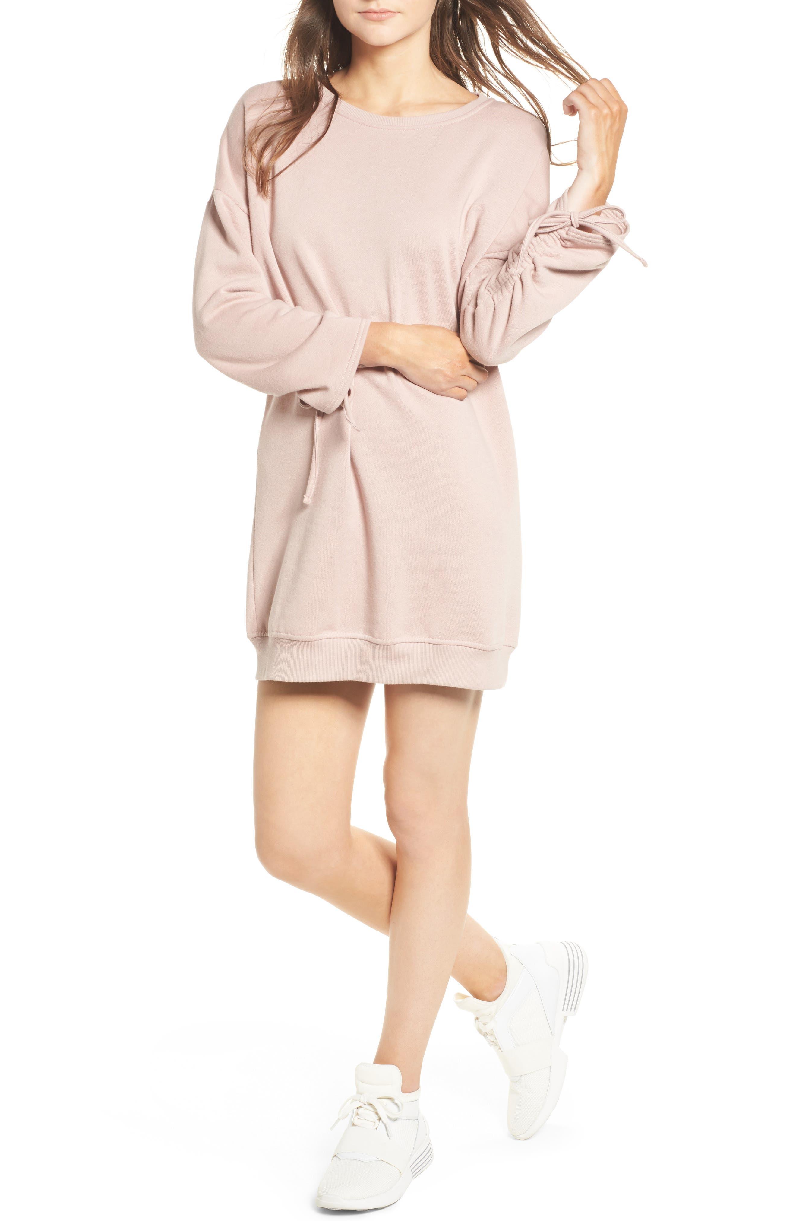 Alternate Image 1 Selected - Cotton Emporium Ruched Sleeve Sweatshirt Dress