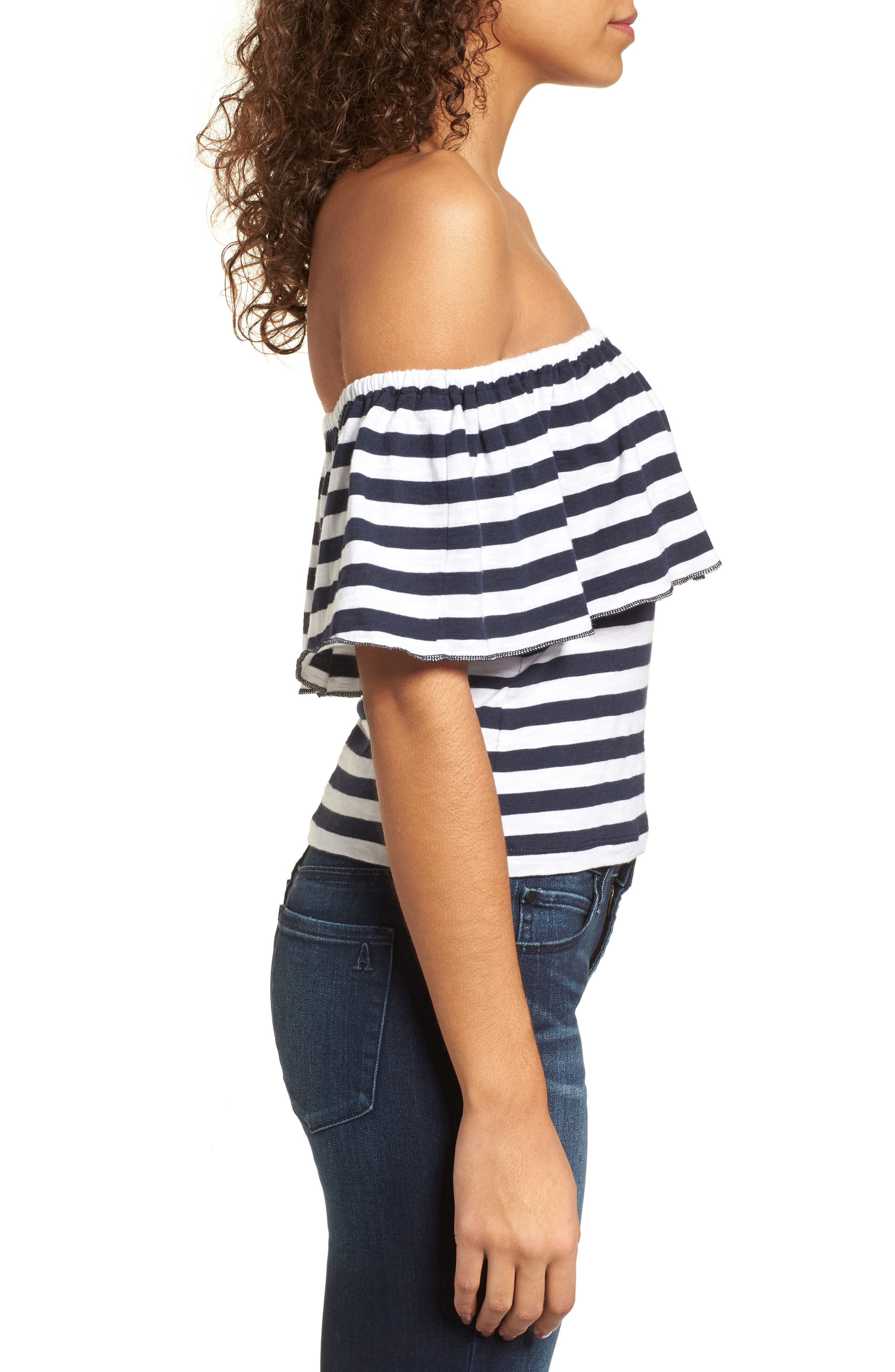 Stripe Ruffle Off the Shoulder Tee,                             Alternate thumbnail 3, color,                             Navy Peacoat Marie Stripe