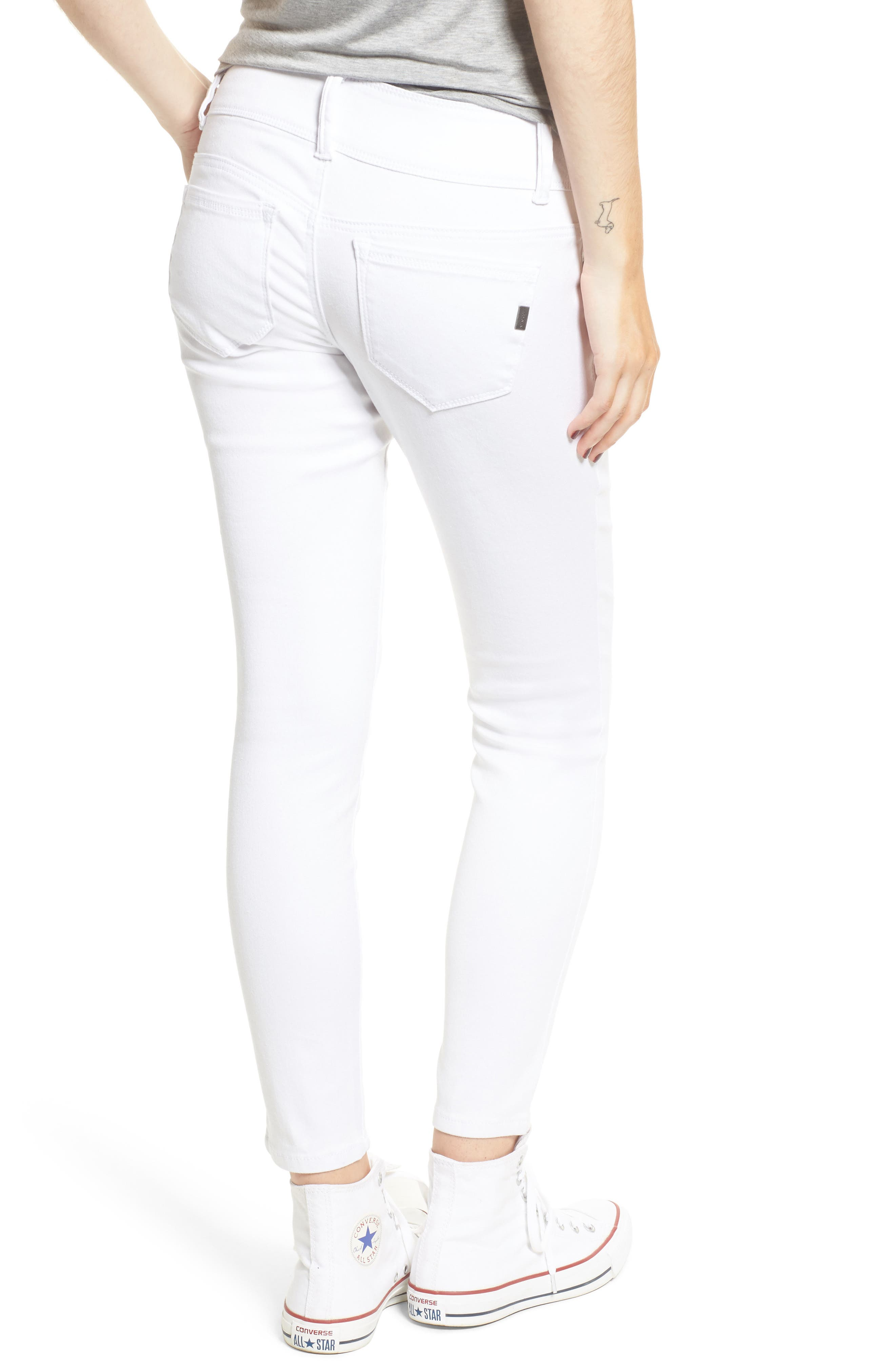 Double Button Skinny Jeans,                             Alternate thumbnail 2, color,                             White