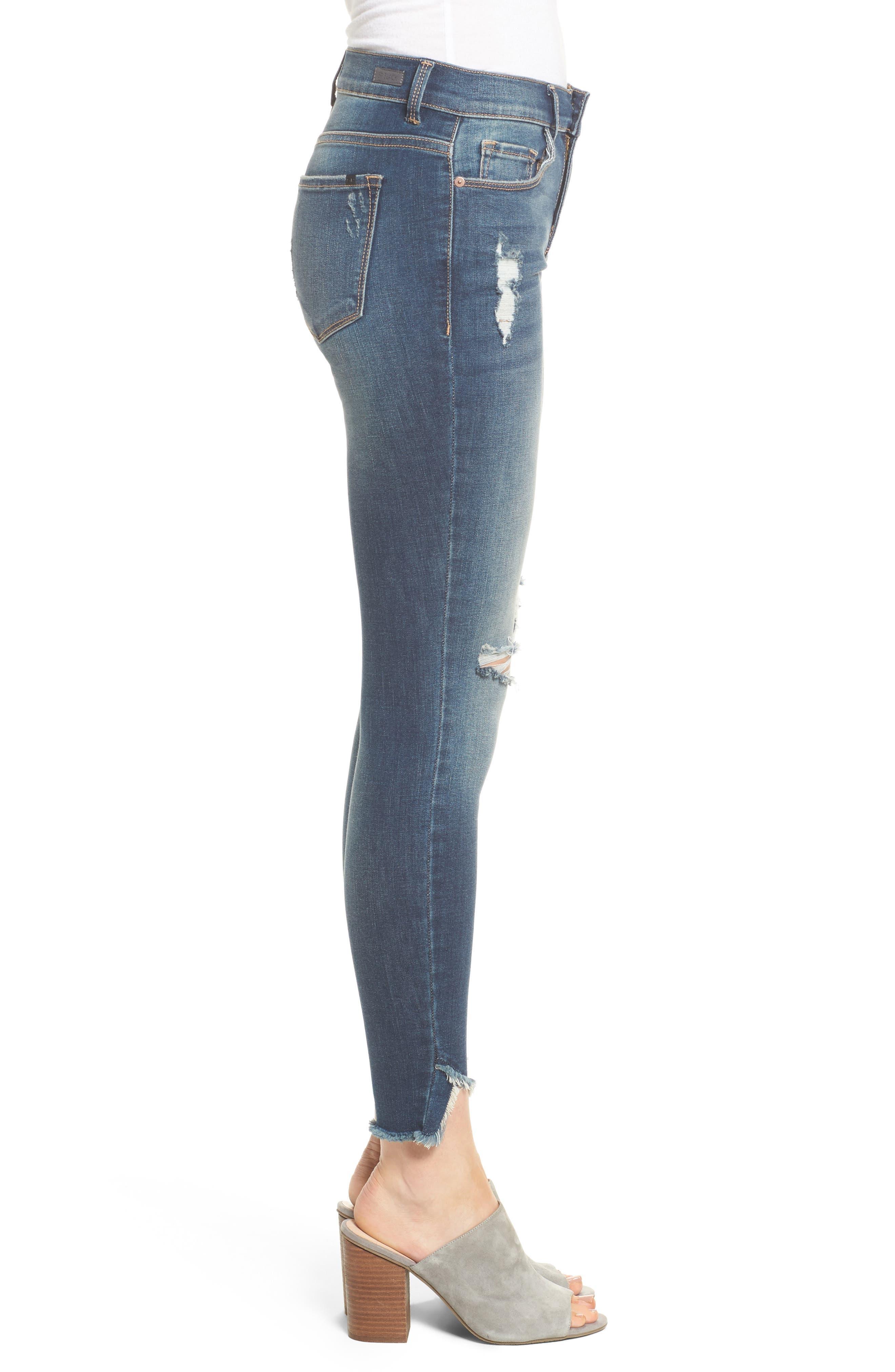 Ripped Raw Hem Skinny Jeans,                             Alternate thumbnail 3, color,                             Medium Dark