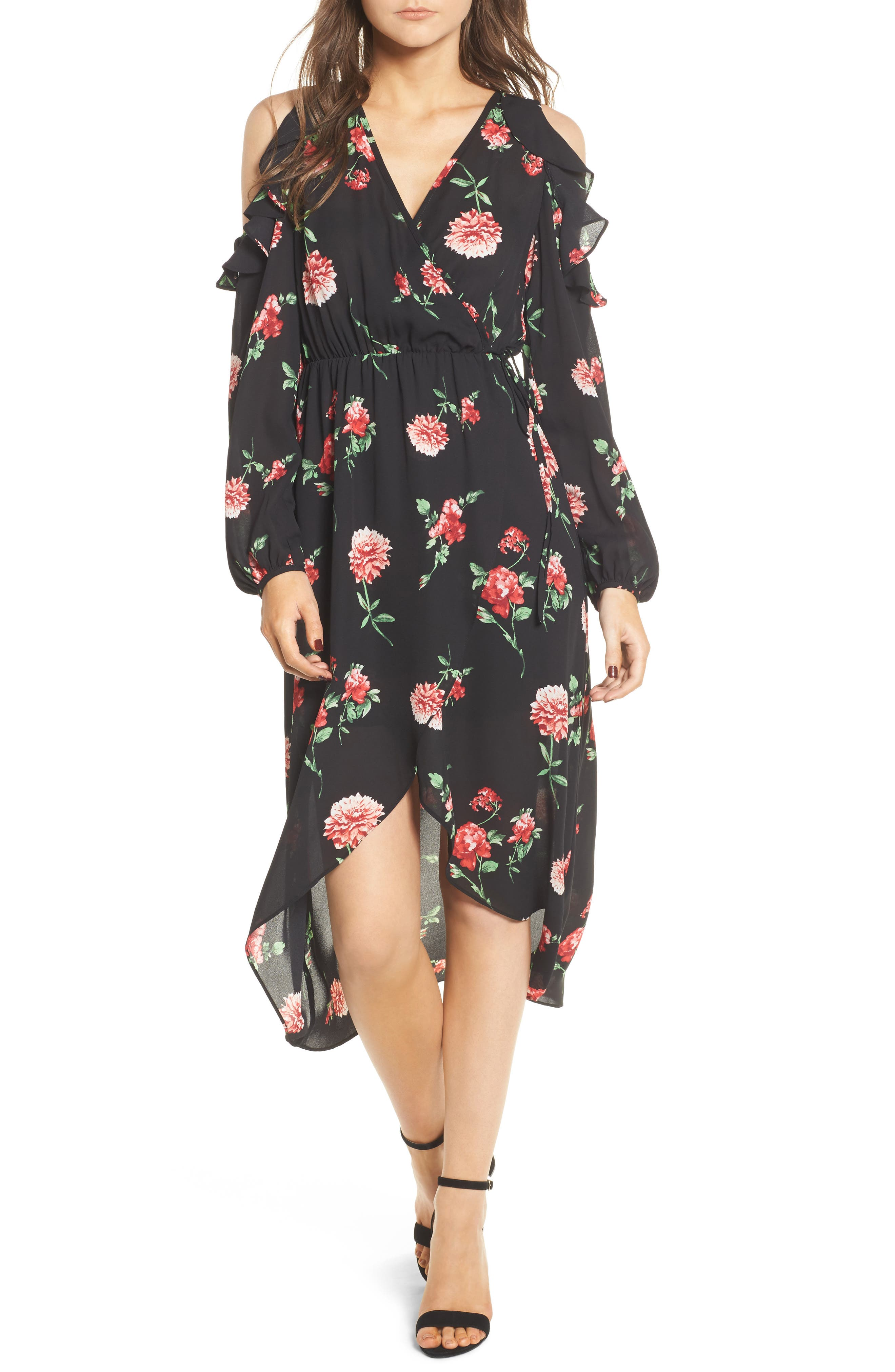Ruffle Cold Shoulder Faux Wrap Dress,                         Main,                         color, 750 Black Red