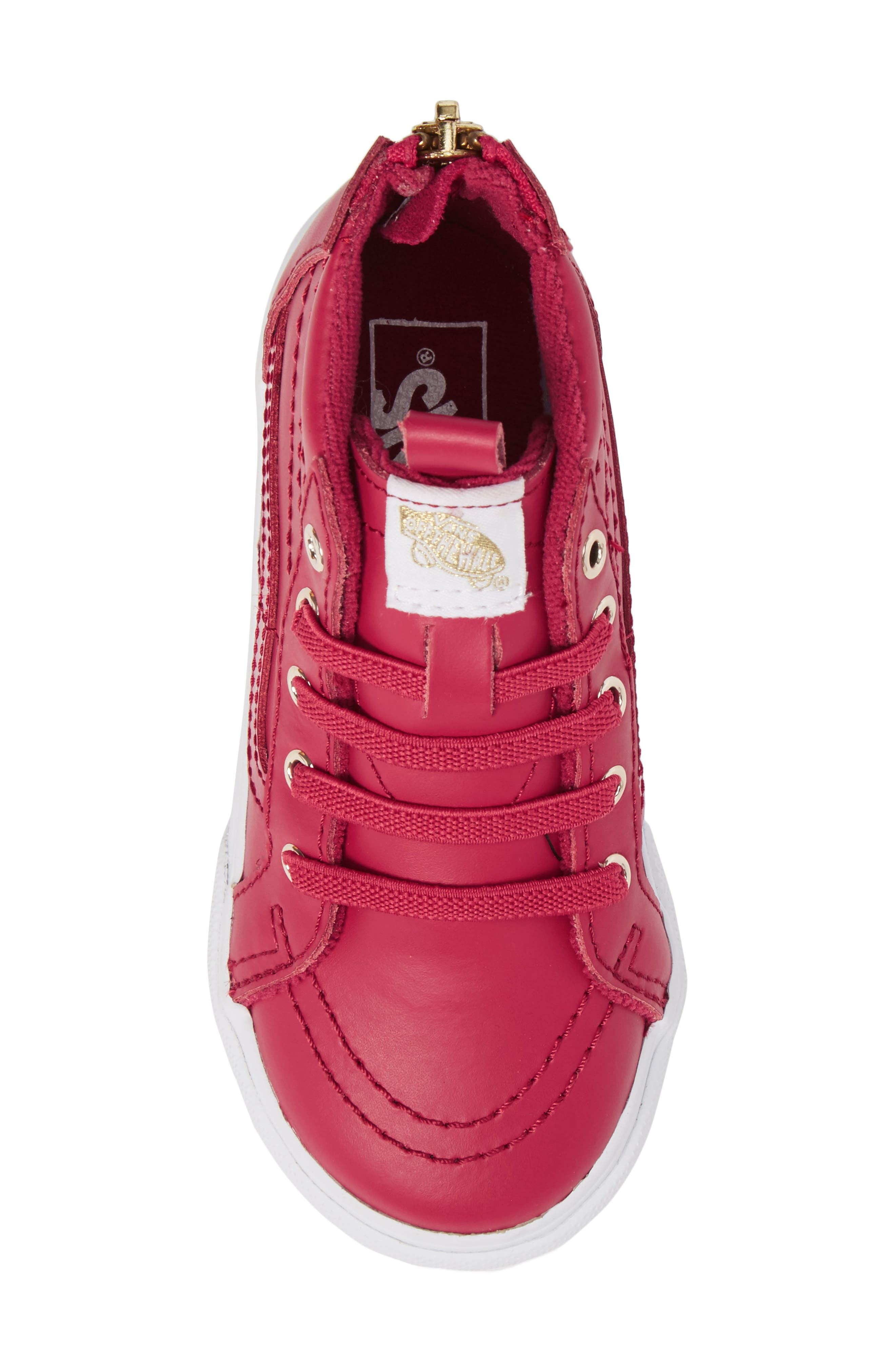 SK8-Hi Zip Sneaker,                             Alternate thumbnail 5, color,                             Persian Red/ Gold