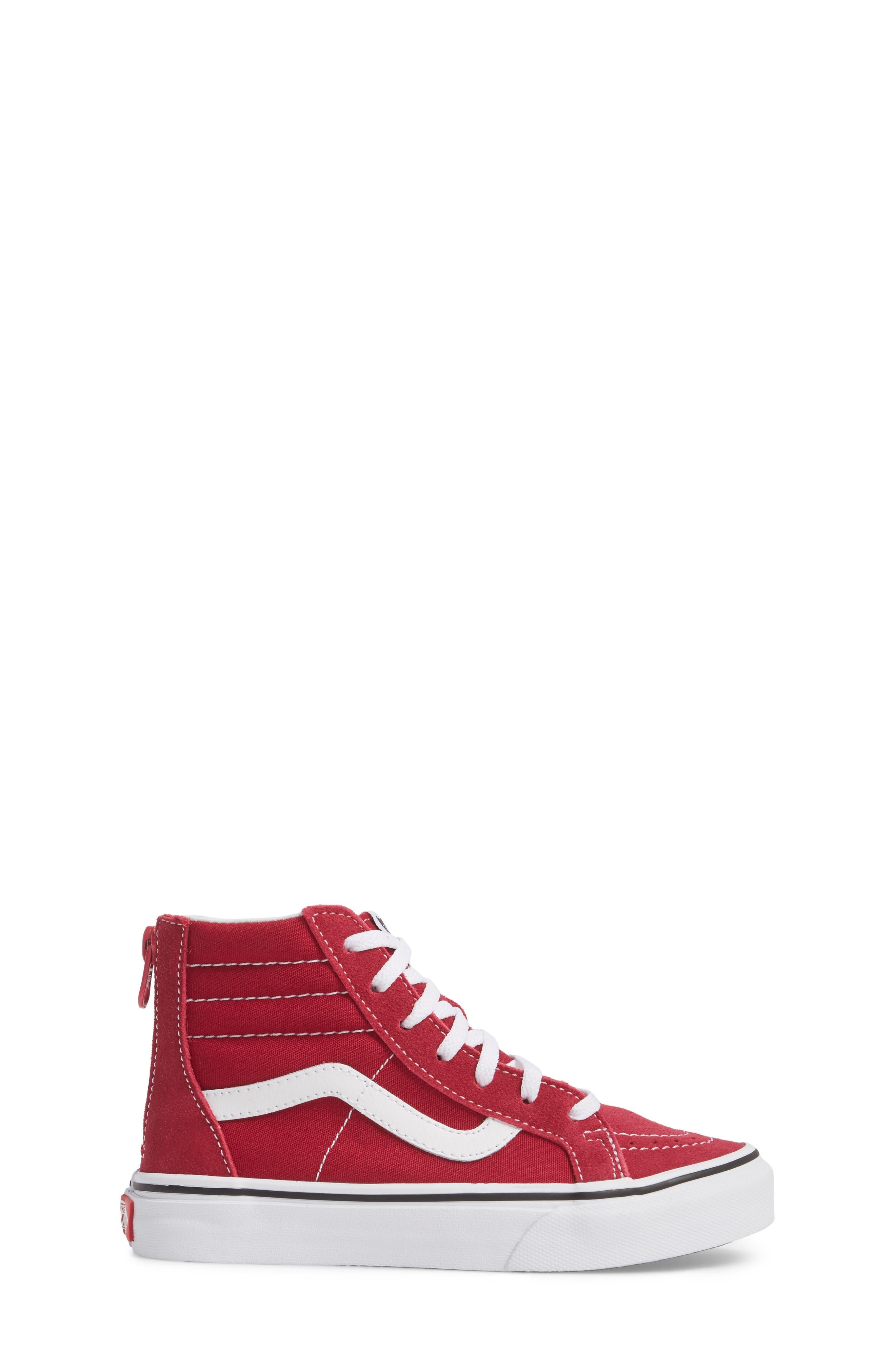 'Sk8-Hi' Zip Sneaker,                             Alternate thumbnail 3, color,                             Persian Red/ True White
