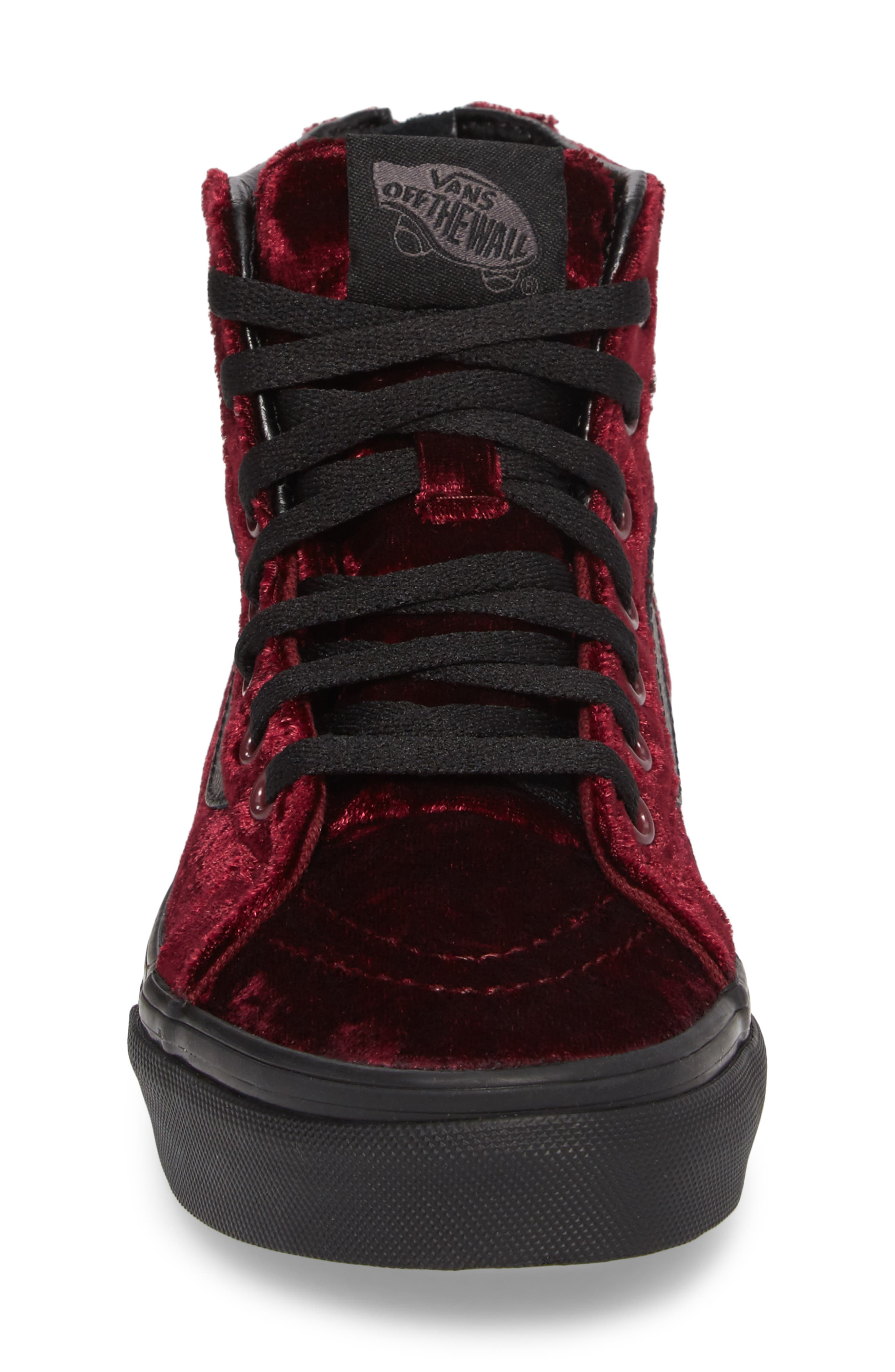 SK8-Hi Zip Sneaker,                             Alternate thumbnail 4, color,                             Red/ Black