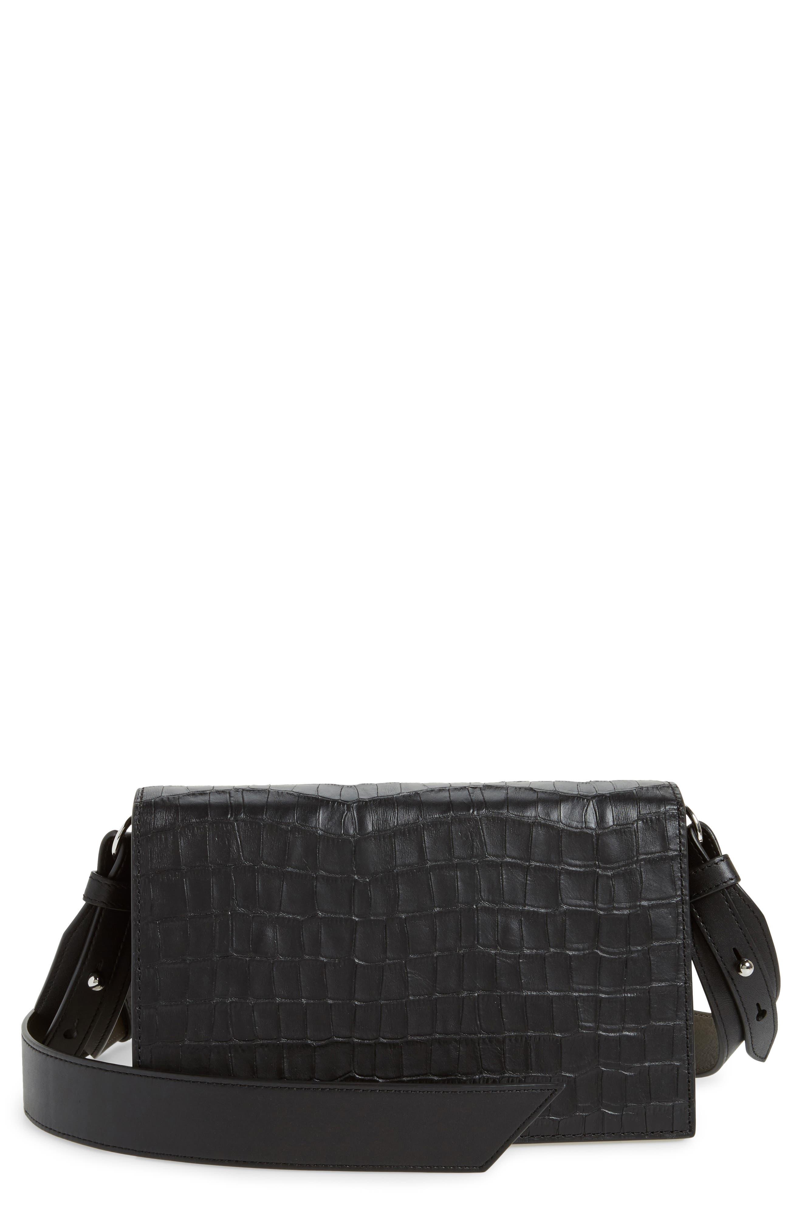 Main Image - ALLSAINTS Keel Croc Embossed Leather Box Bag