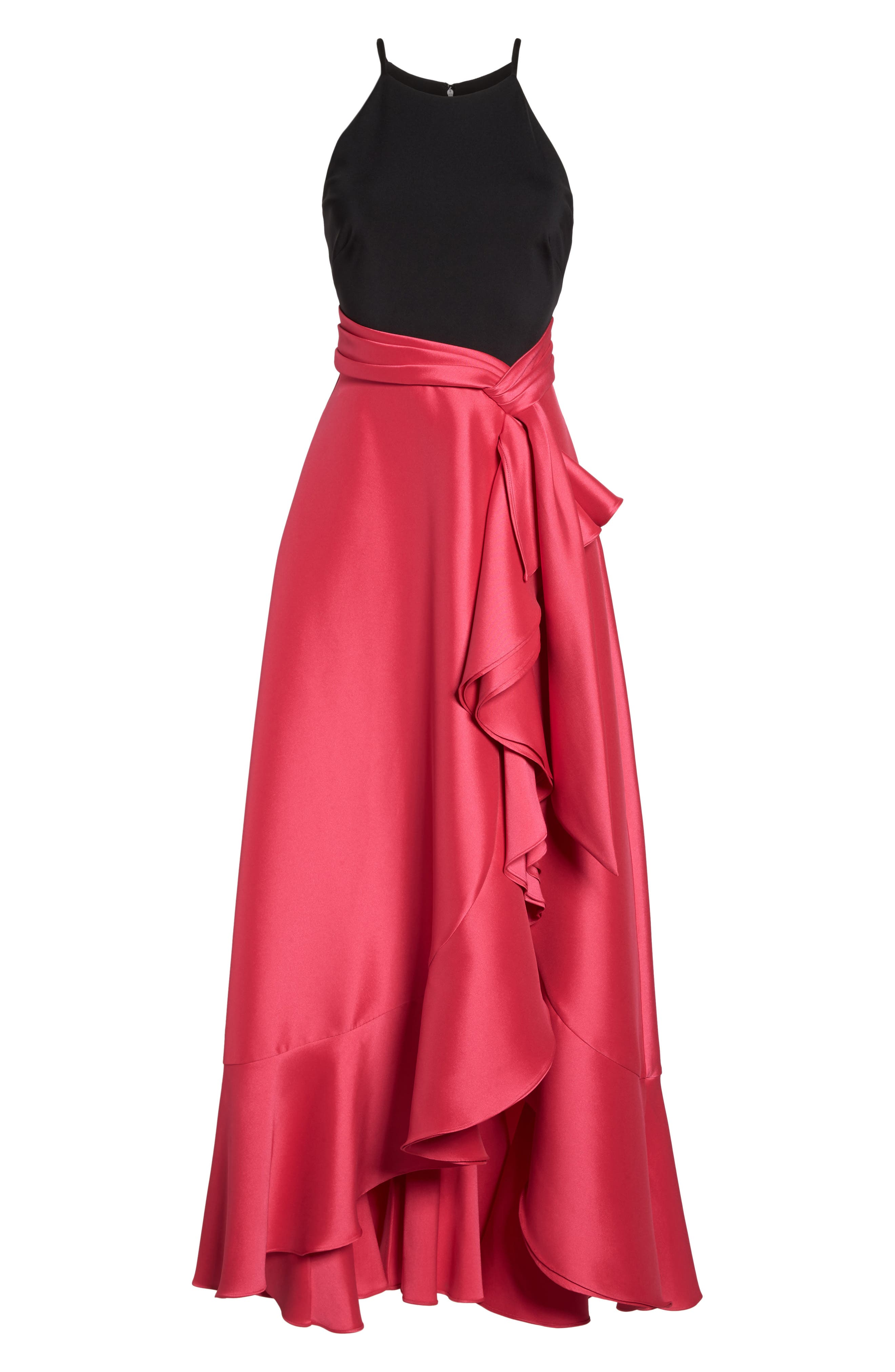 Two-Tone Ruffle Gown,                             Alternate thumbnail 6, color,                             Black Raspberry