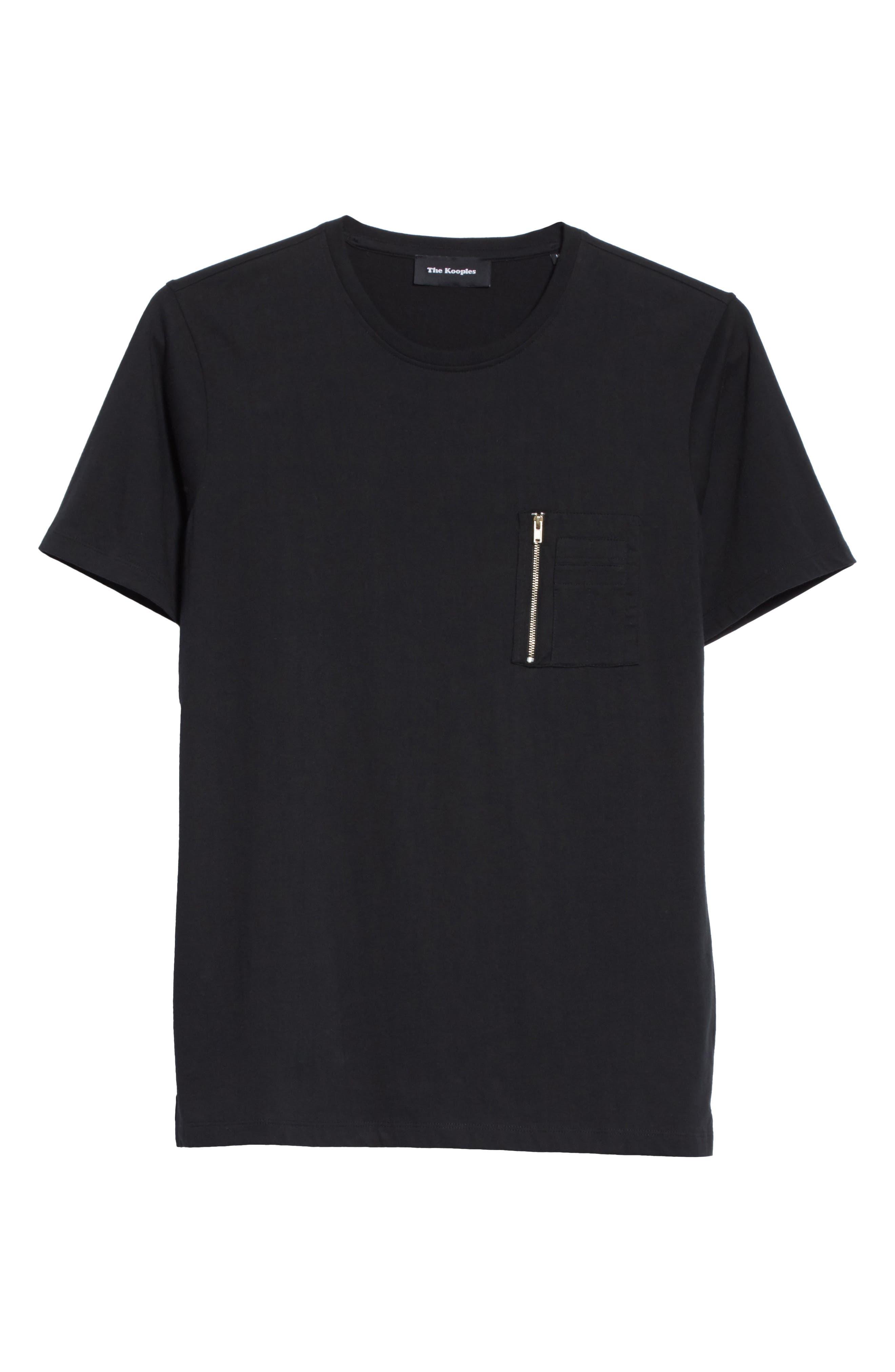 Zip Pocket T-Shirt,                             Alternate thumbnail 6, color,                             Black
