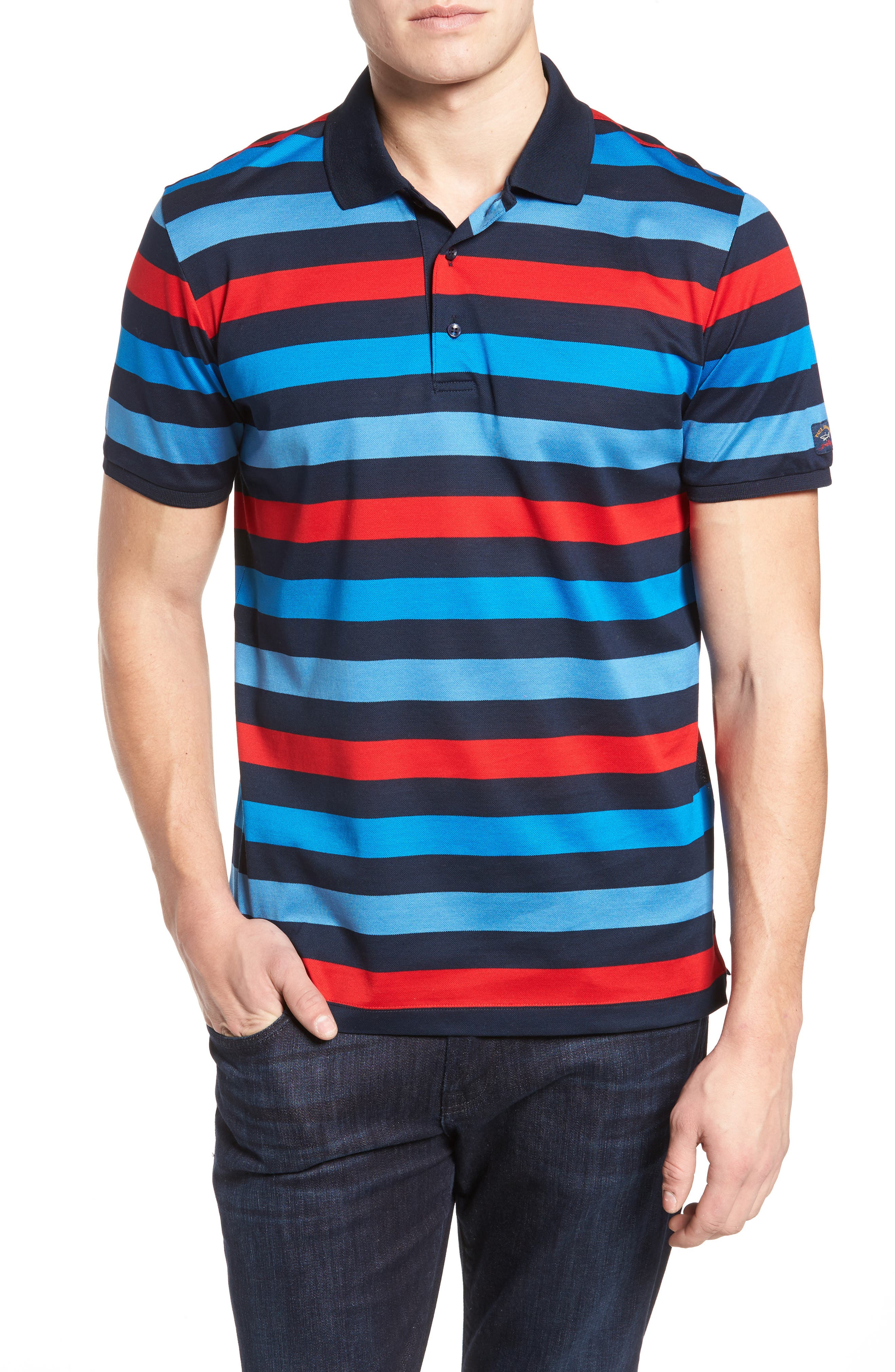 Stripe Tipped Polo,                             Main thumbnail 1, color,                             Blue/ Red/ Navy