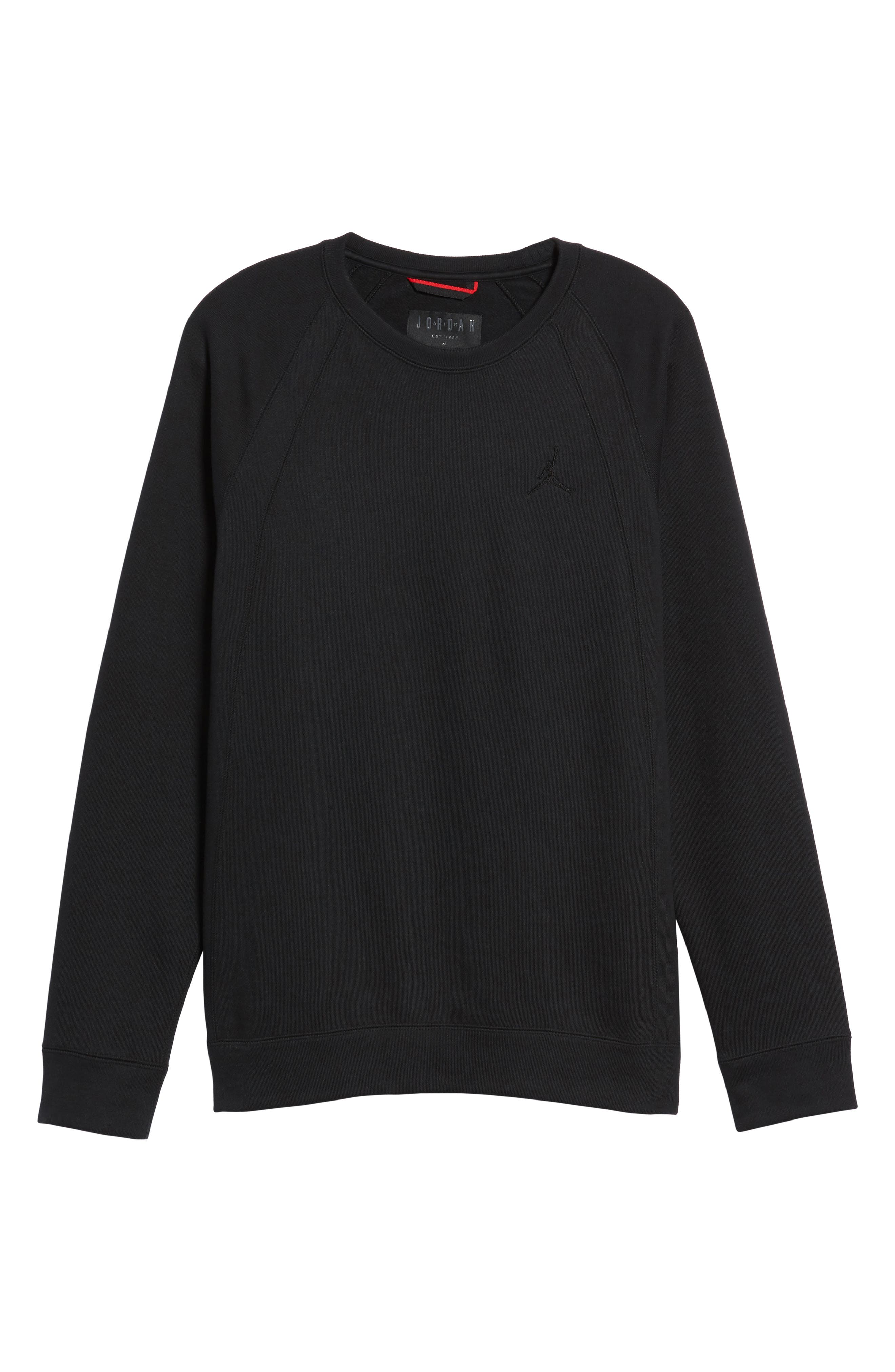 Jordan Sportswear Wings Pullover,                             Alternate thumbnail 6, color,                             Black/ Black