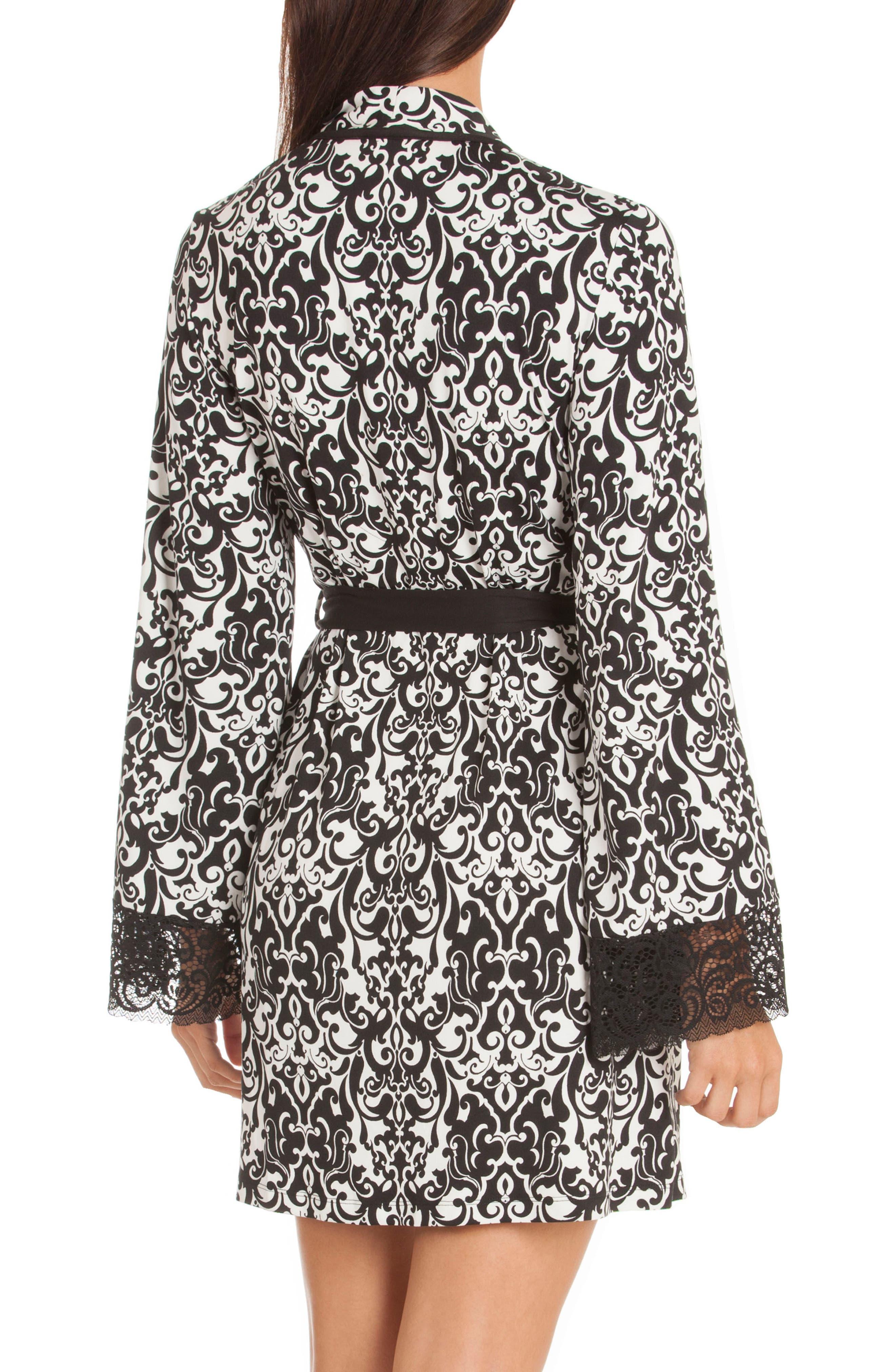 Konya Short Robe,                             Alternate thumbnail 2, color,                             Black/ Ivory