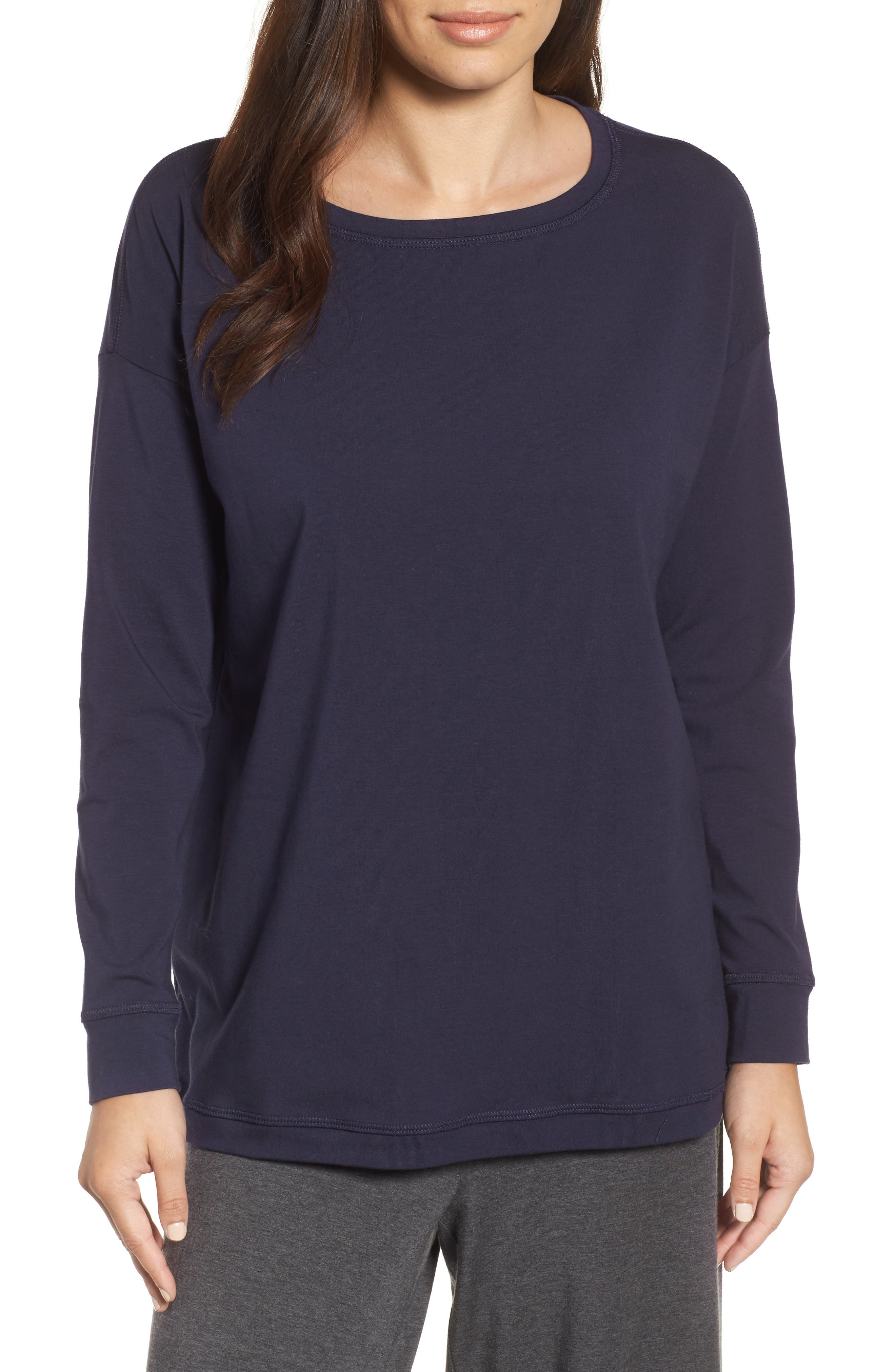 Jewel Neck Organic Stretch Cotton Tee,                         Main,                         color, Midnight