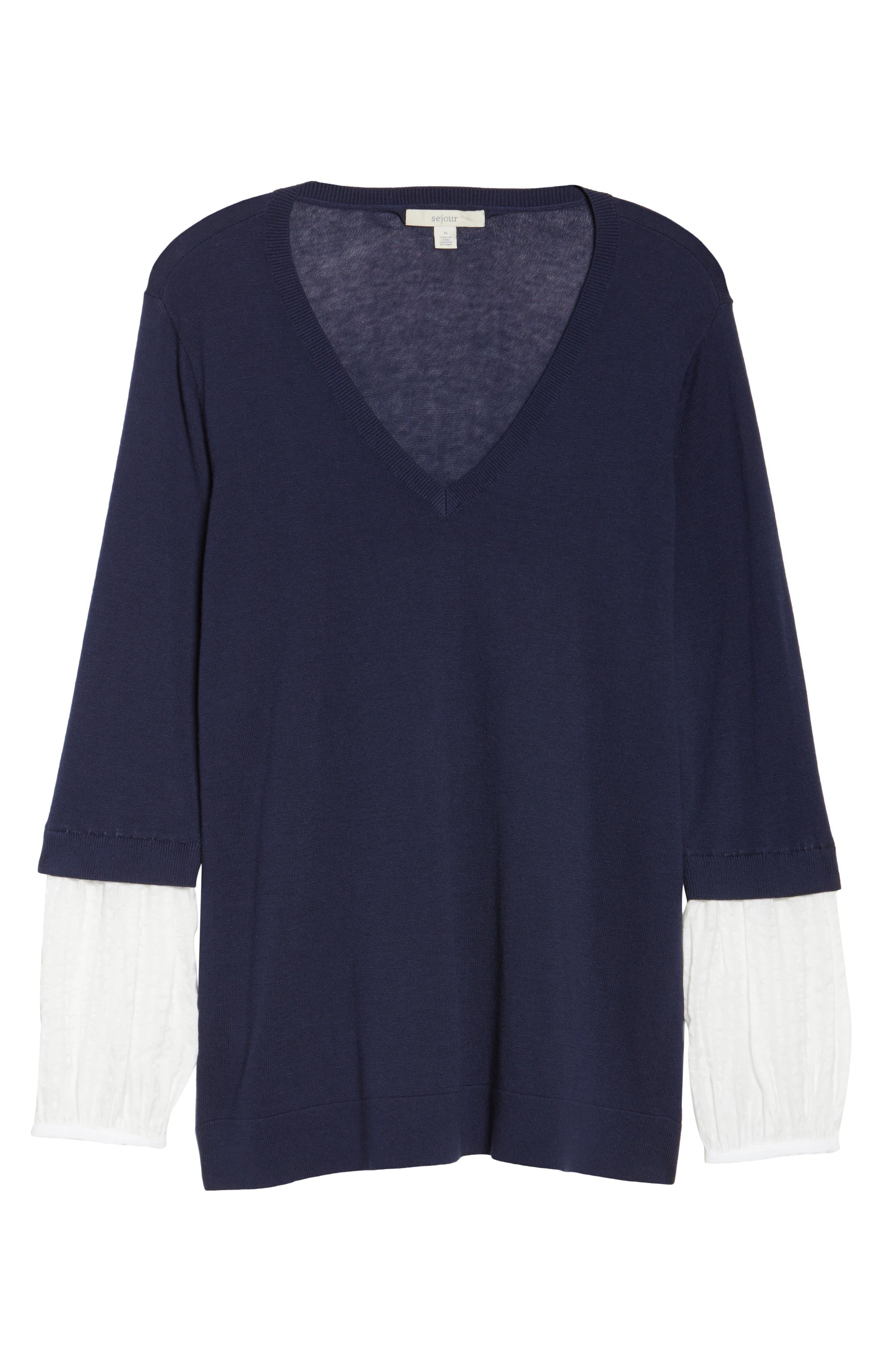 Mix Media Sweater,                             Alternate thumbnail 6, color,                             Navy- White Combo