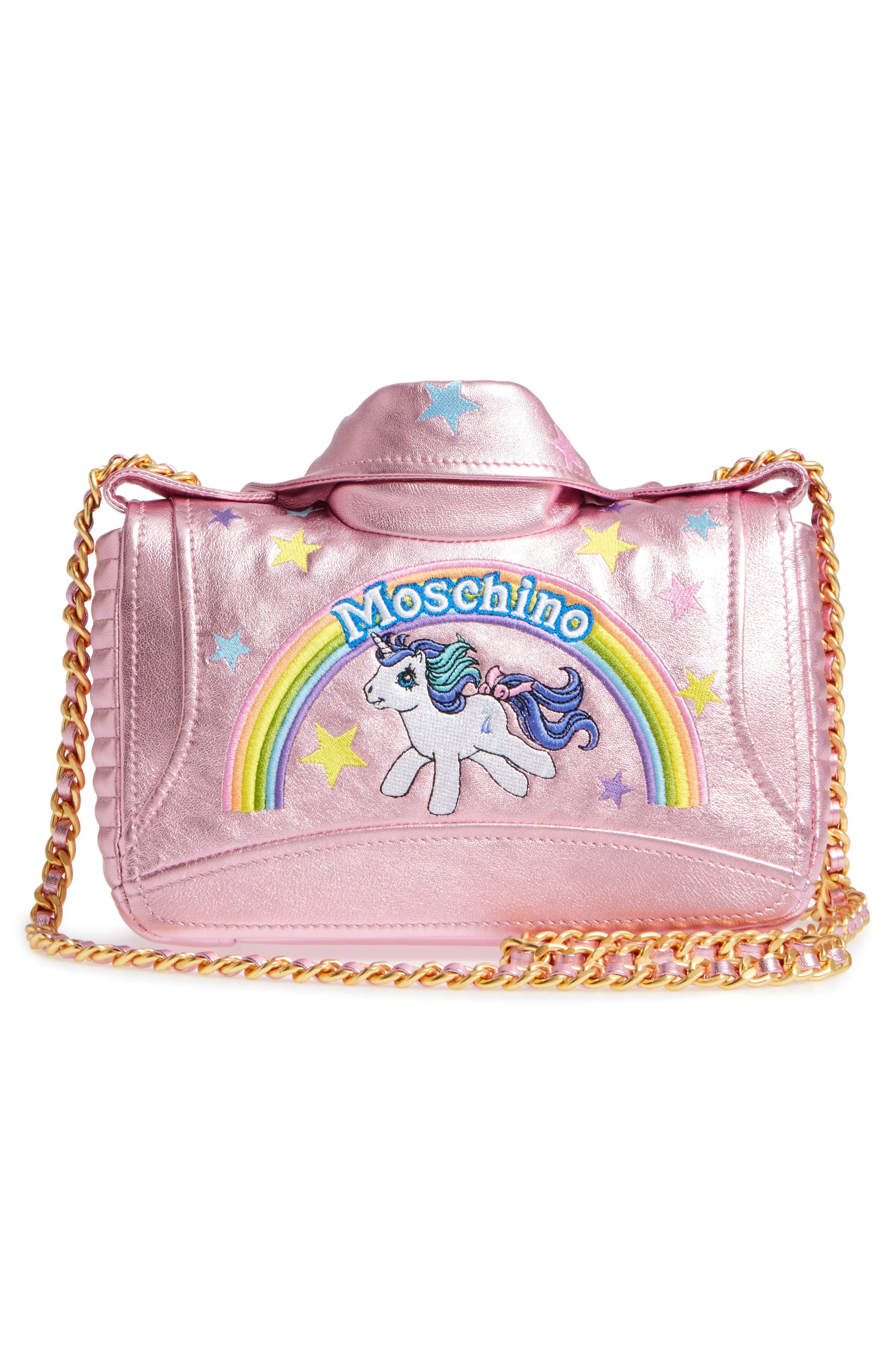 x My Little Pony Biker Jacket Metallic Leather Crossbody Bag,                             Alternate thumbnail 3, color,                             Pink