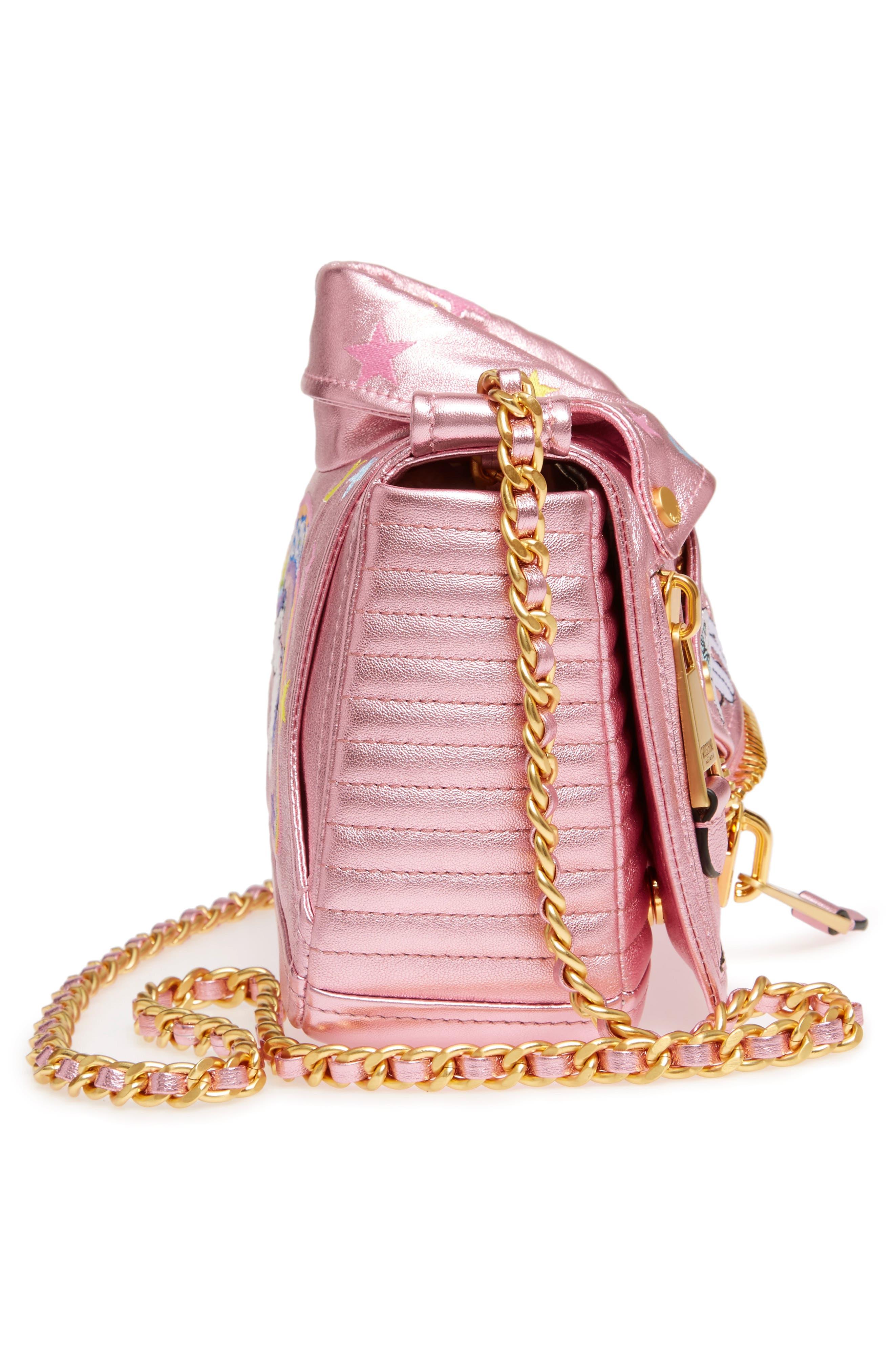 x My Little Pony Biker Jacket Metallic Leather Crossbody Bag,                             Alternate thumbnail 5, color,                             Pink