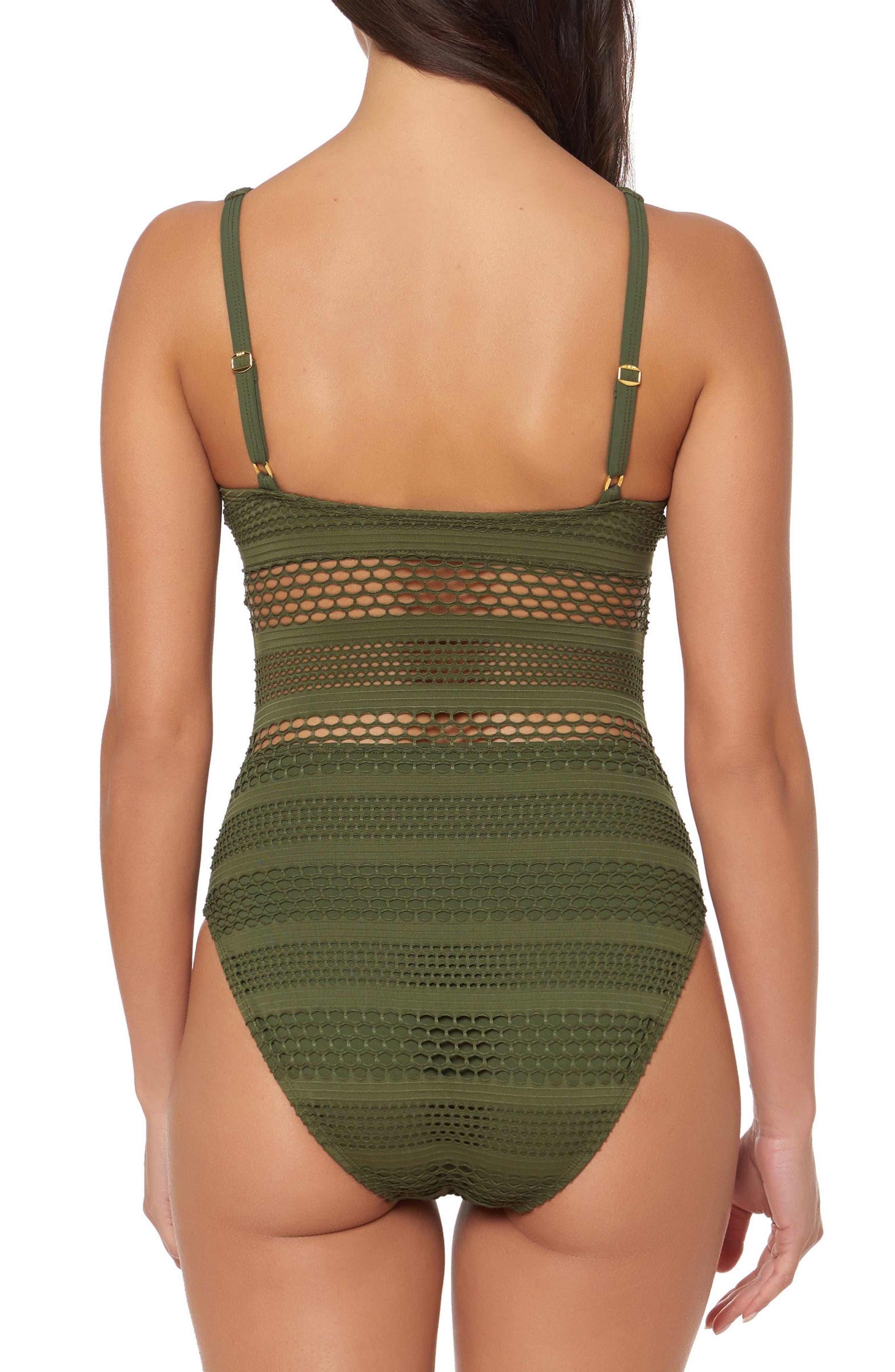BLEU by Rod Beattie Crochet One-Piece Swimsuit,                             Alternate thumbnail 2, color,                             Amazon Green