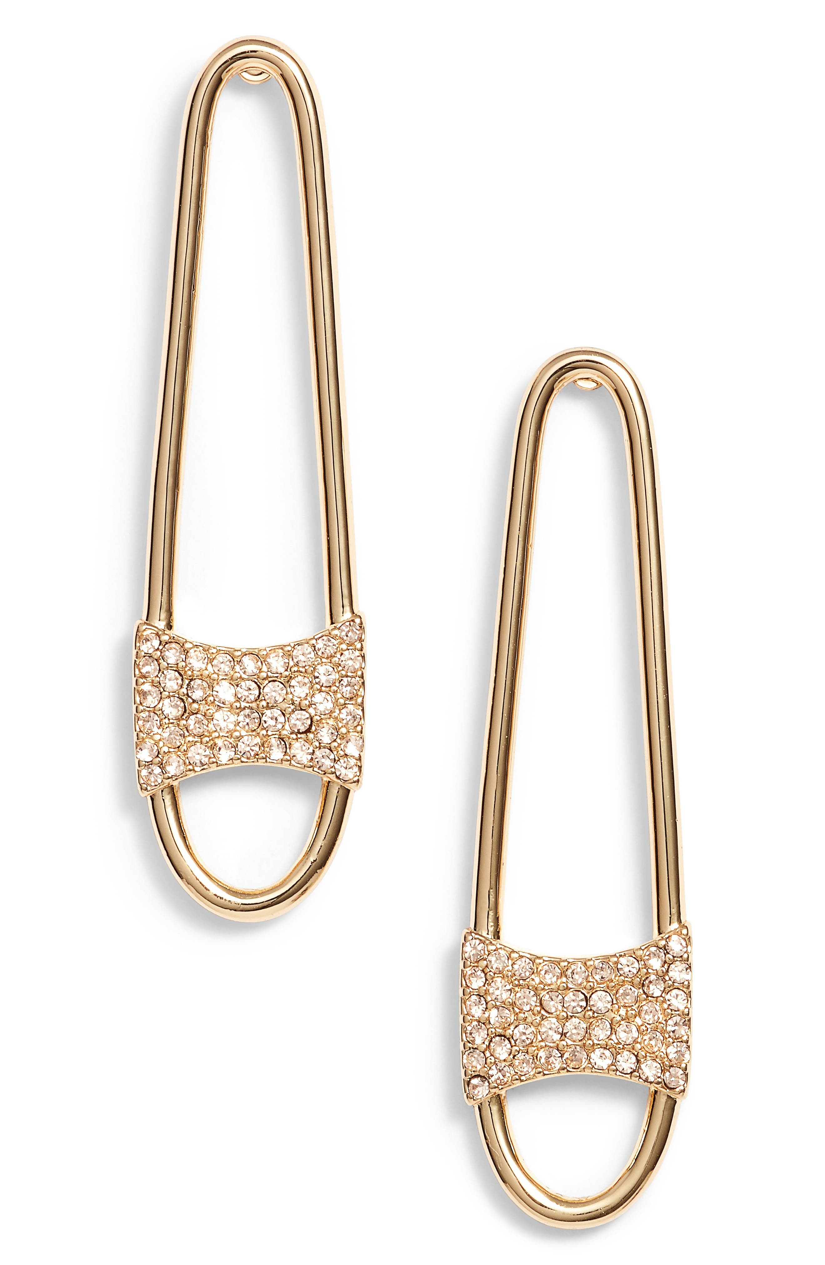 Pave Safety Pin Earrings,                         Main,                         color, Gold