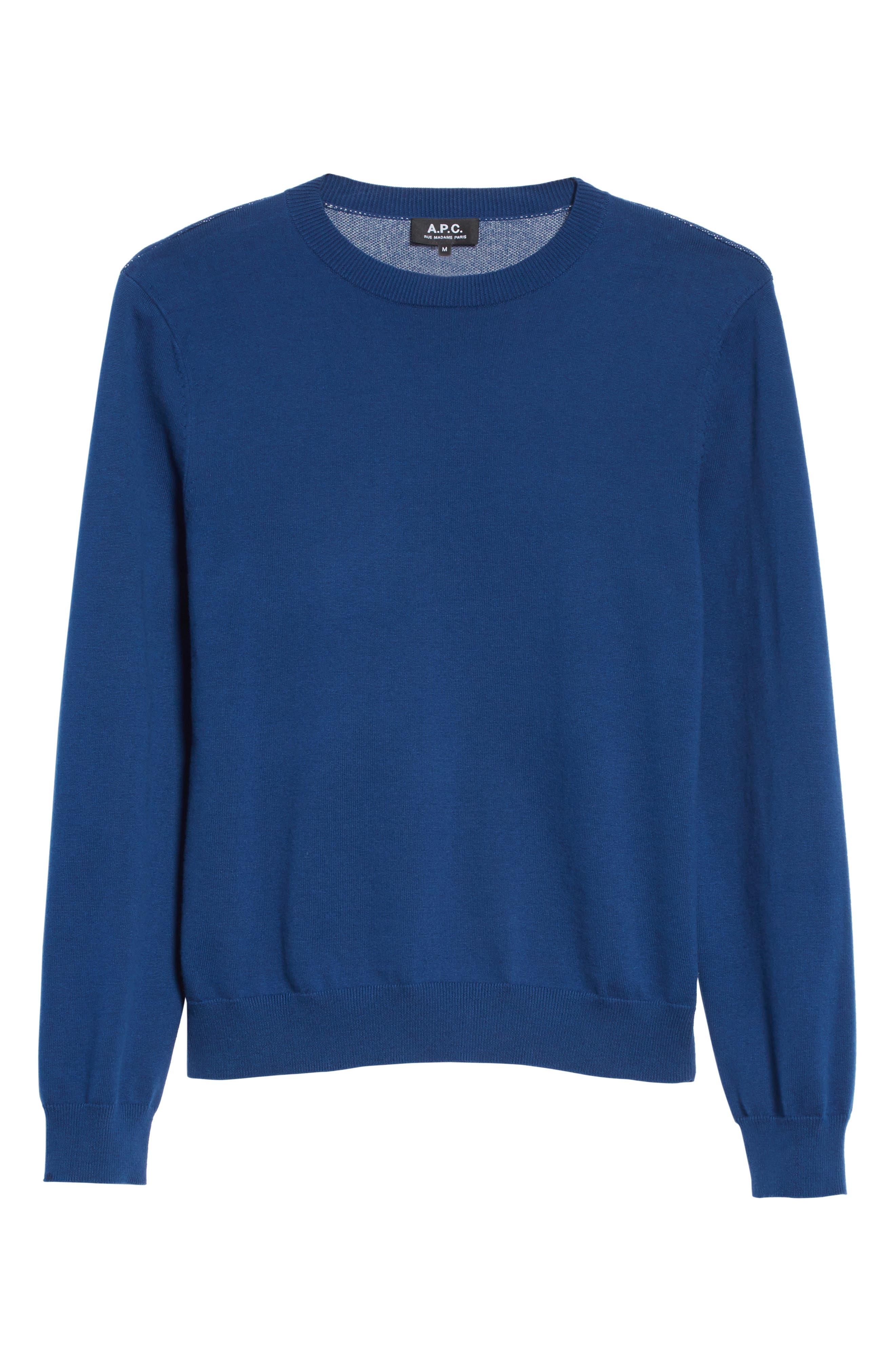 CIA Crewneck Sweater,                             Alternate thumbnail 6, color,                             Bleu Fonce Iah