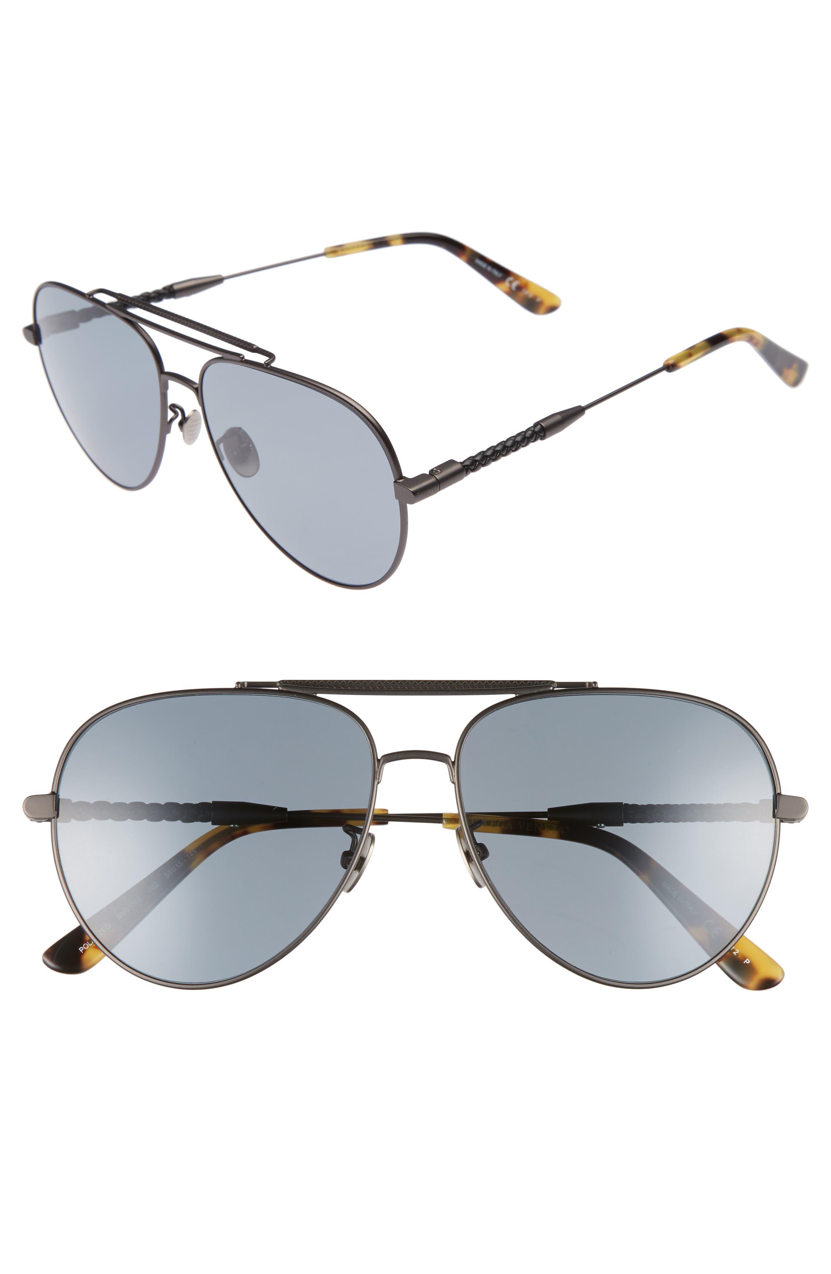 59m Polarized Aviator Sunglasses,                             Main thumbnail 1, color,                             Ruthenium