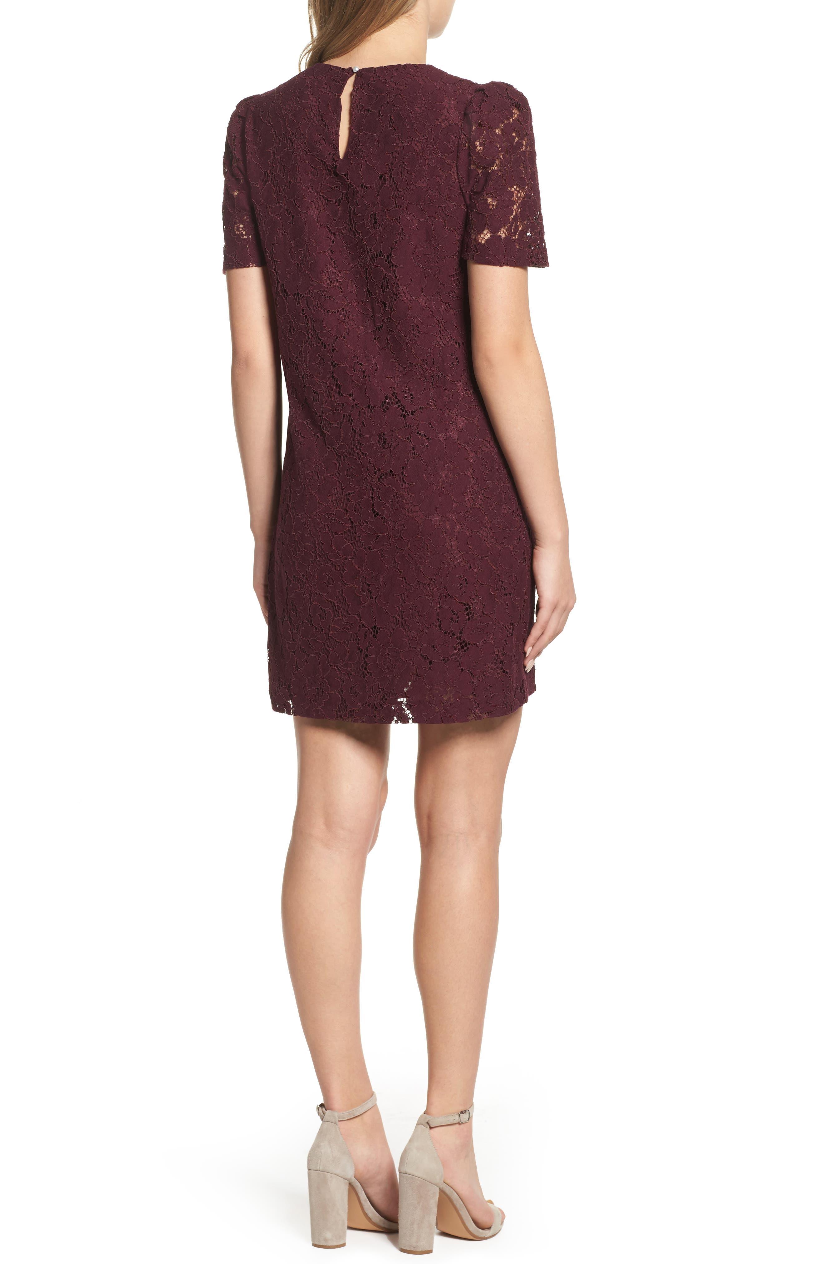Lace Shift Dress,                             Alternate thumbnail 2, color,                             Merlot