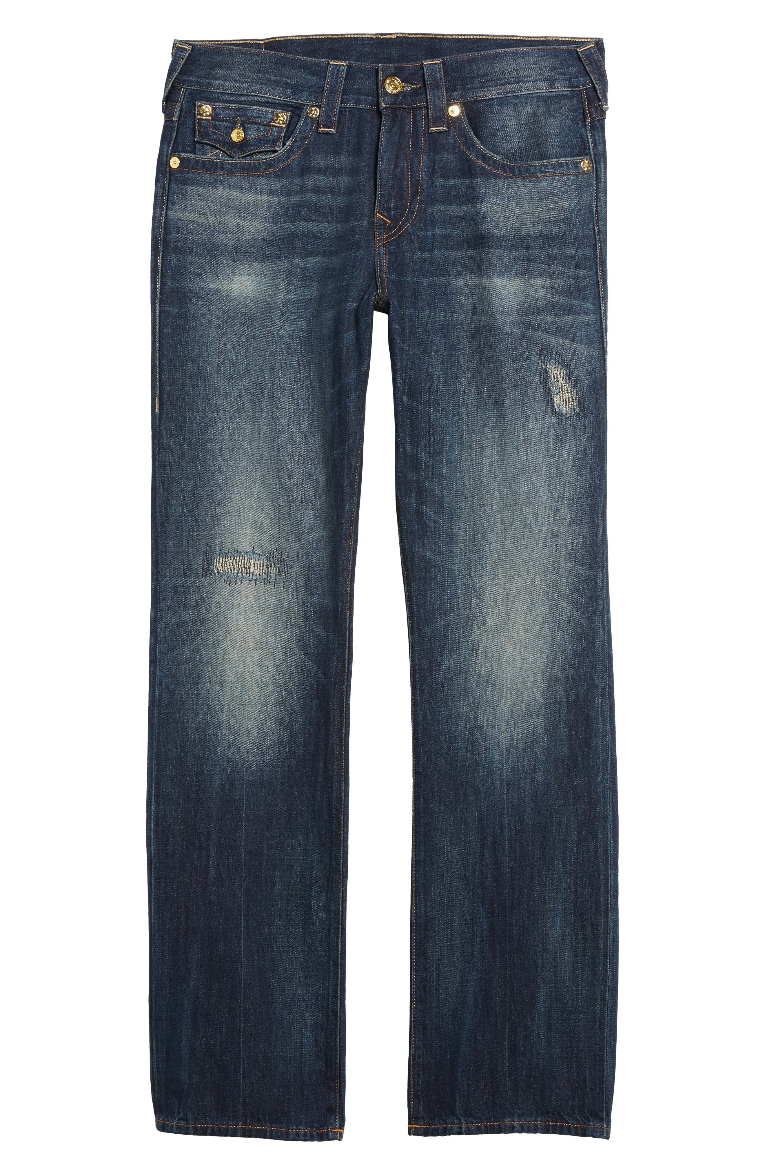 Alternate Image 6  - True Religion Brand Jeans Geno Straight Leg Jeans (Mended Center Stage)