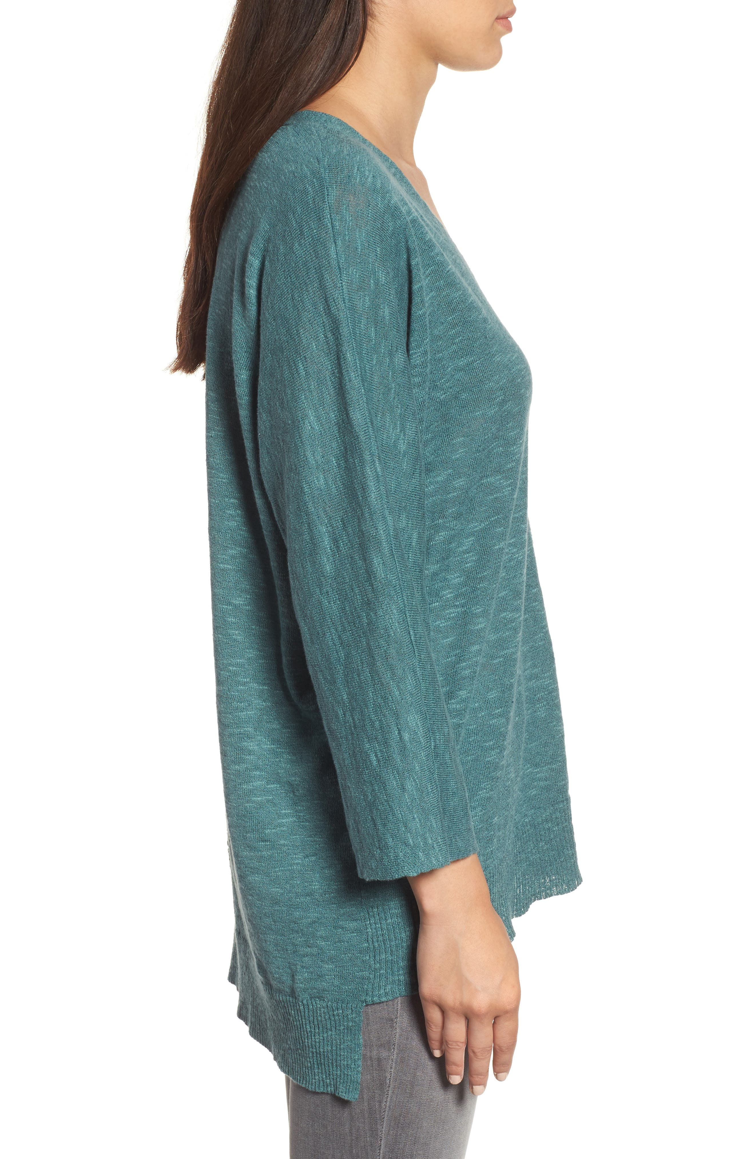 Organic Linen & Cotton Sweater,                             Alternate thumbnail 3, color,                             Teal