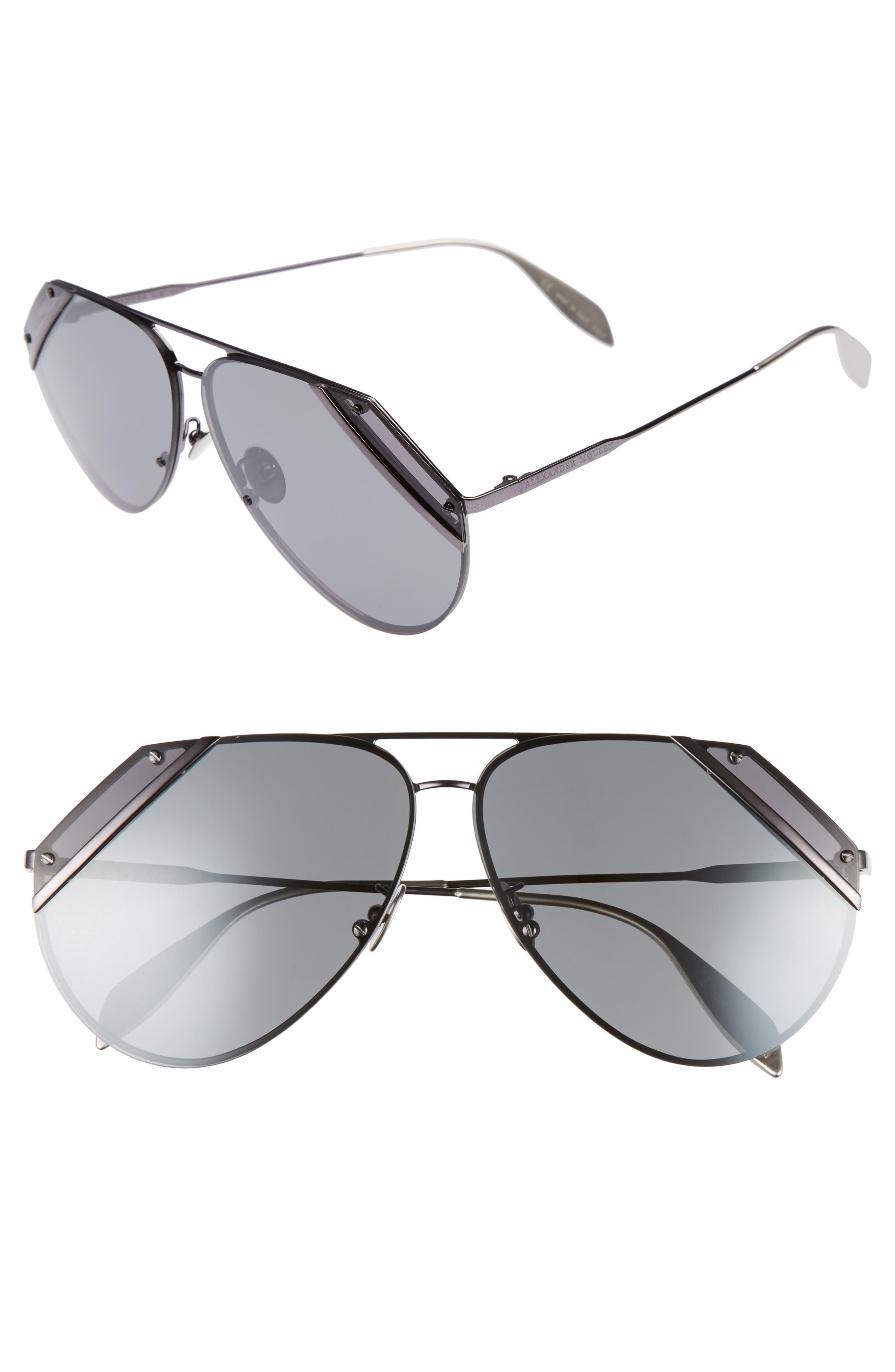 Main Image - Alexander McQueen 65mm Snip Frame Aviator Sunglasses